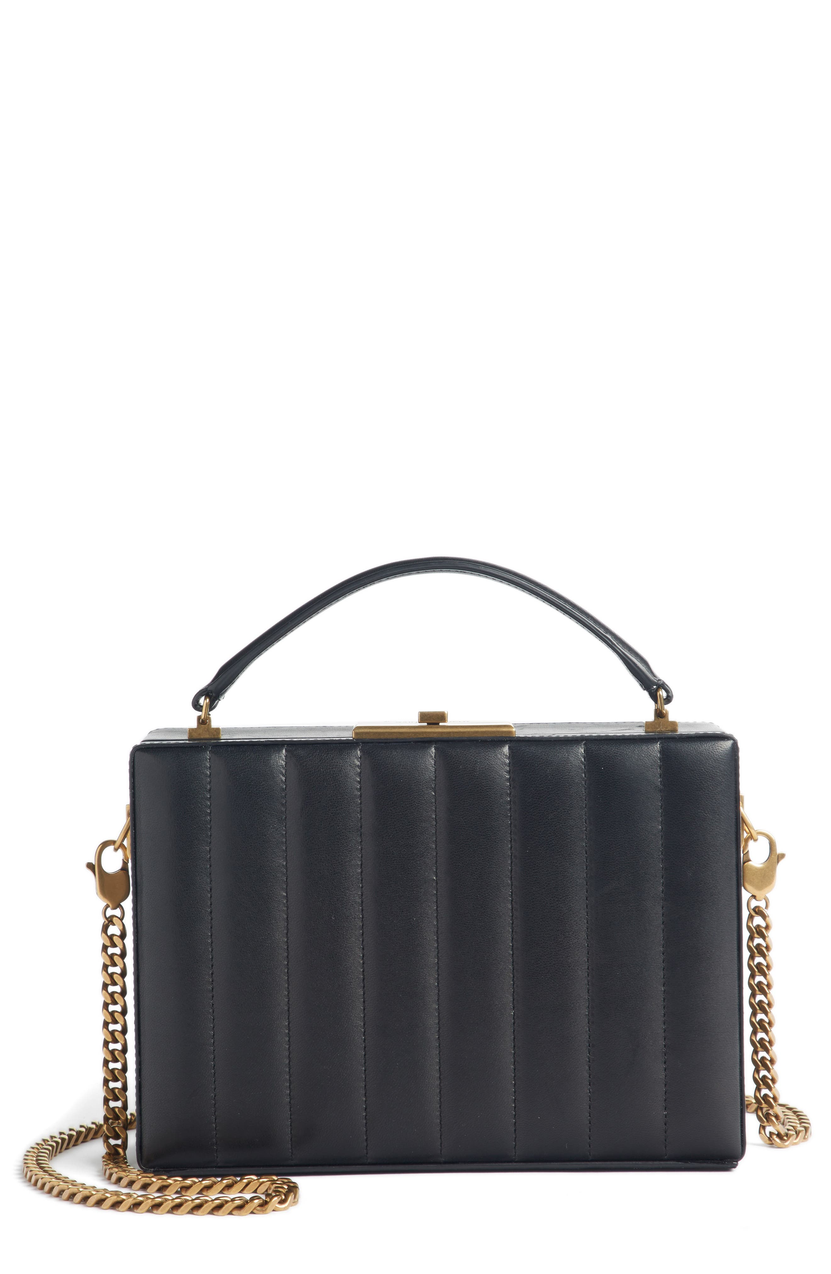 Nan Quilted Leather Frame Bag,                             Main thumbnail 1, color,                             NOIR