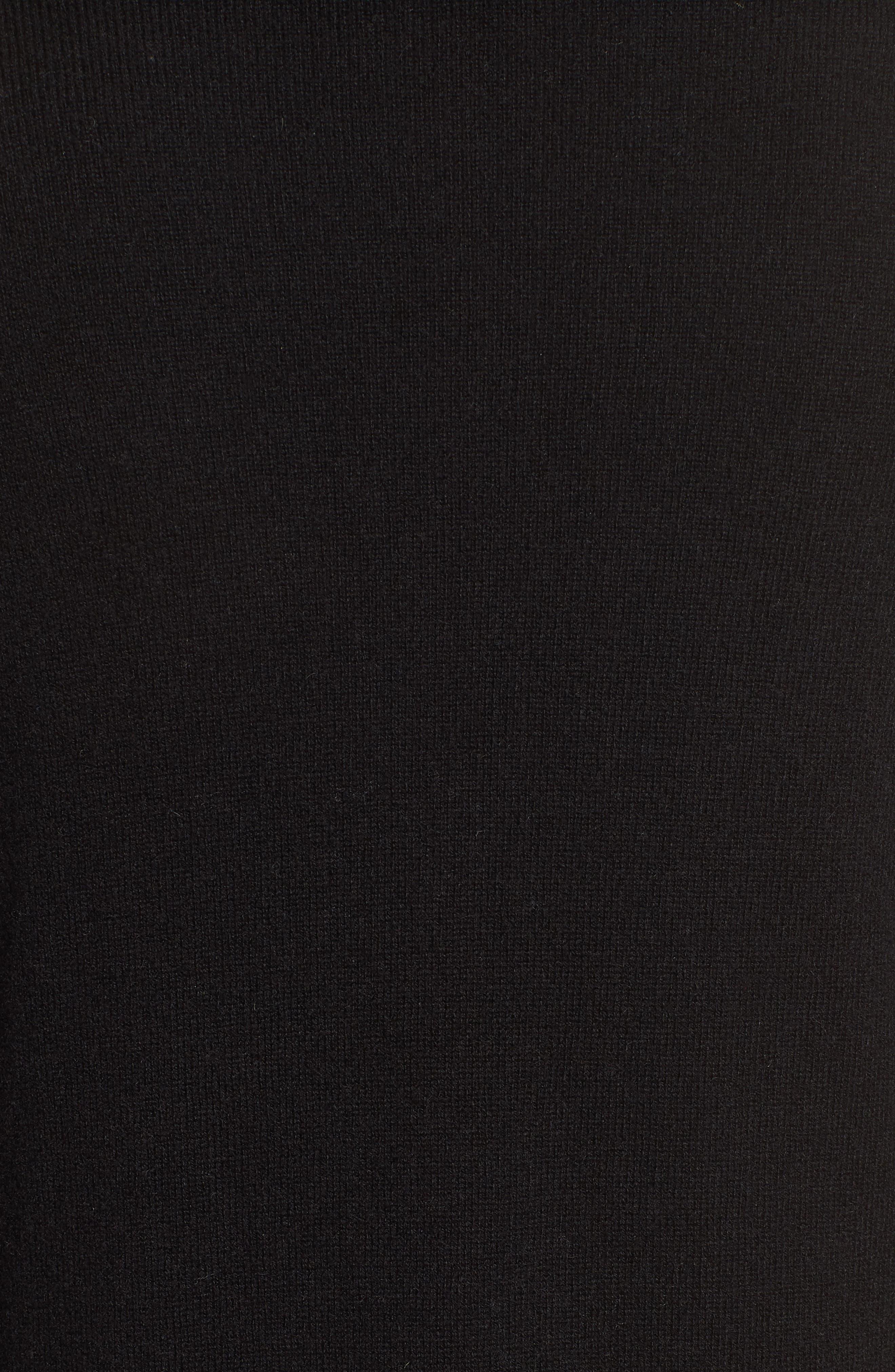 Cashmere Ruffle Hem Open Cardigan,                             Alternate thumbnail 5, color,                             BLACK