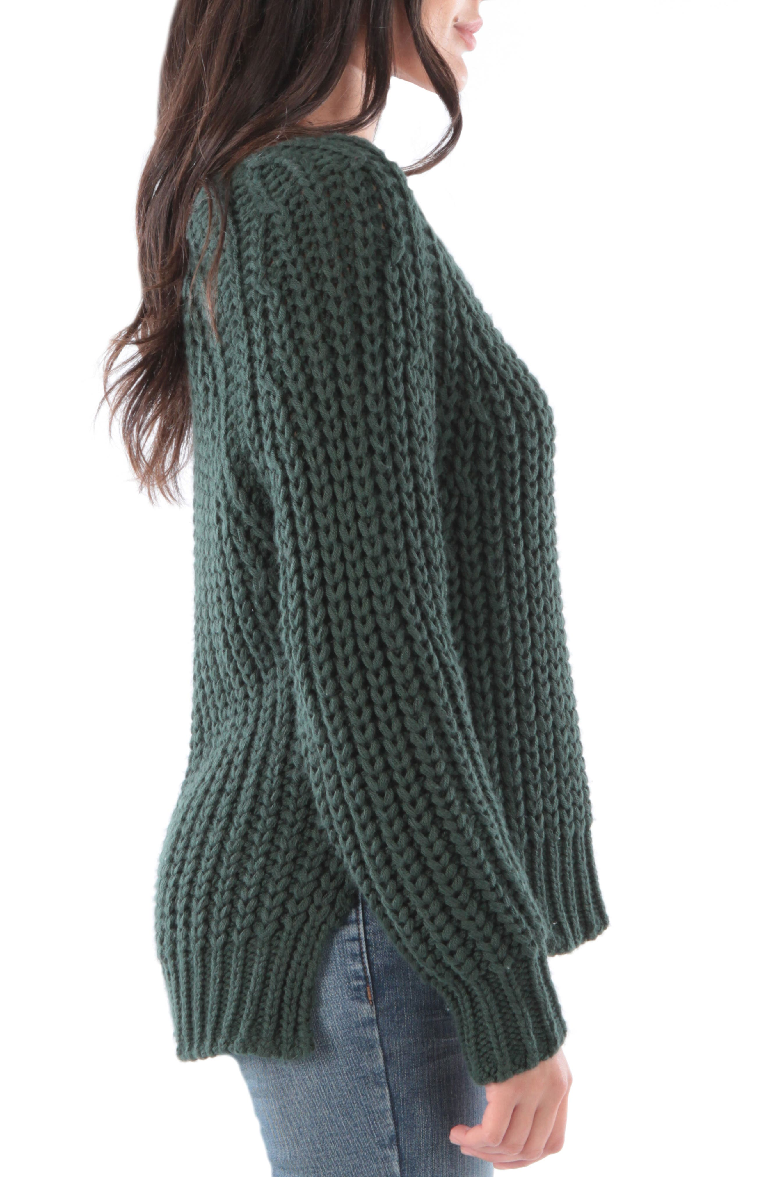 Valeria Sweater,                             Alternate thumbnail 3, color,                             FOREST GREEN