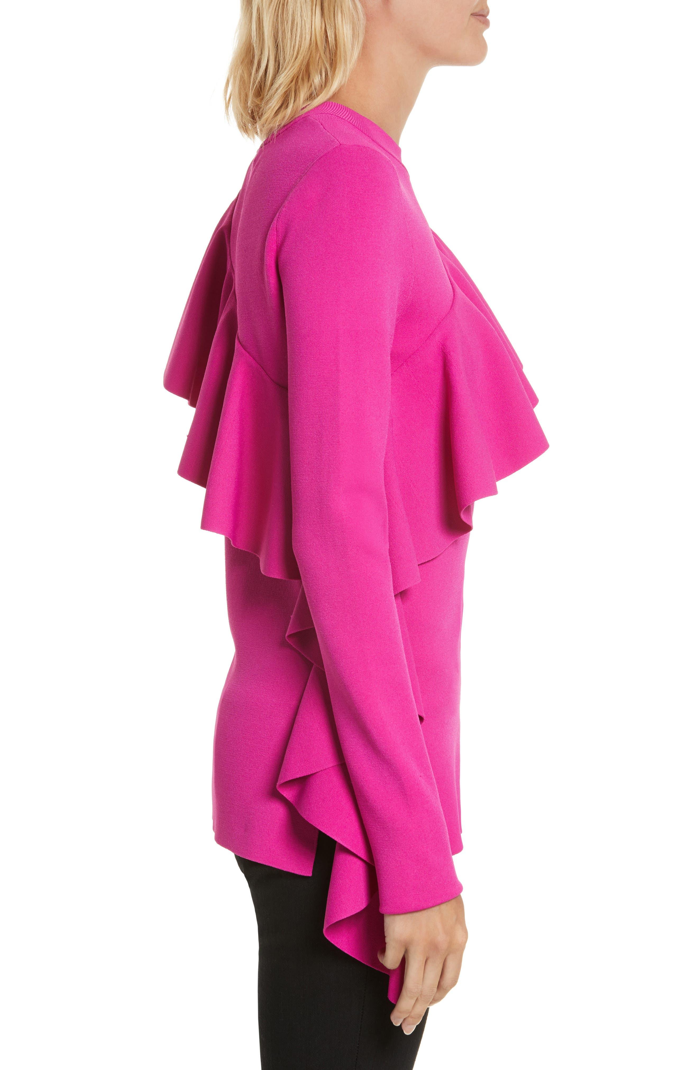 Diane von Furstenberg Ruffle Front Pullover,                             Alternate thumbnail 3, color,                             666