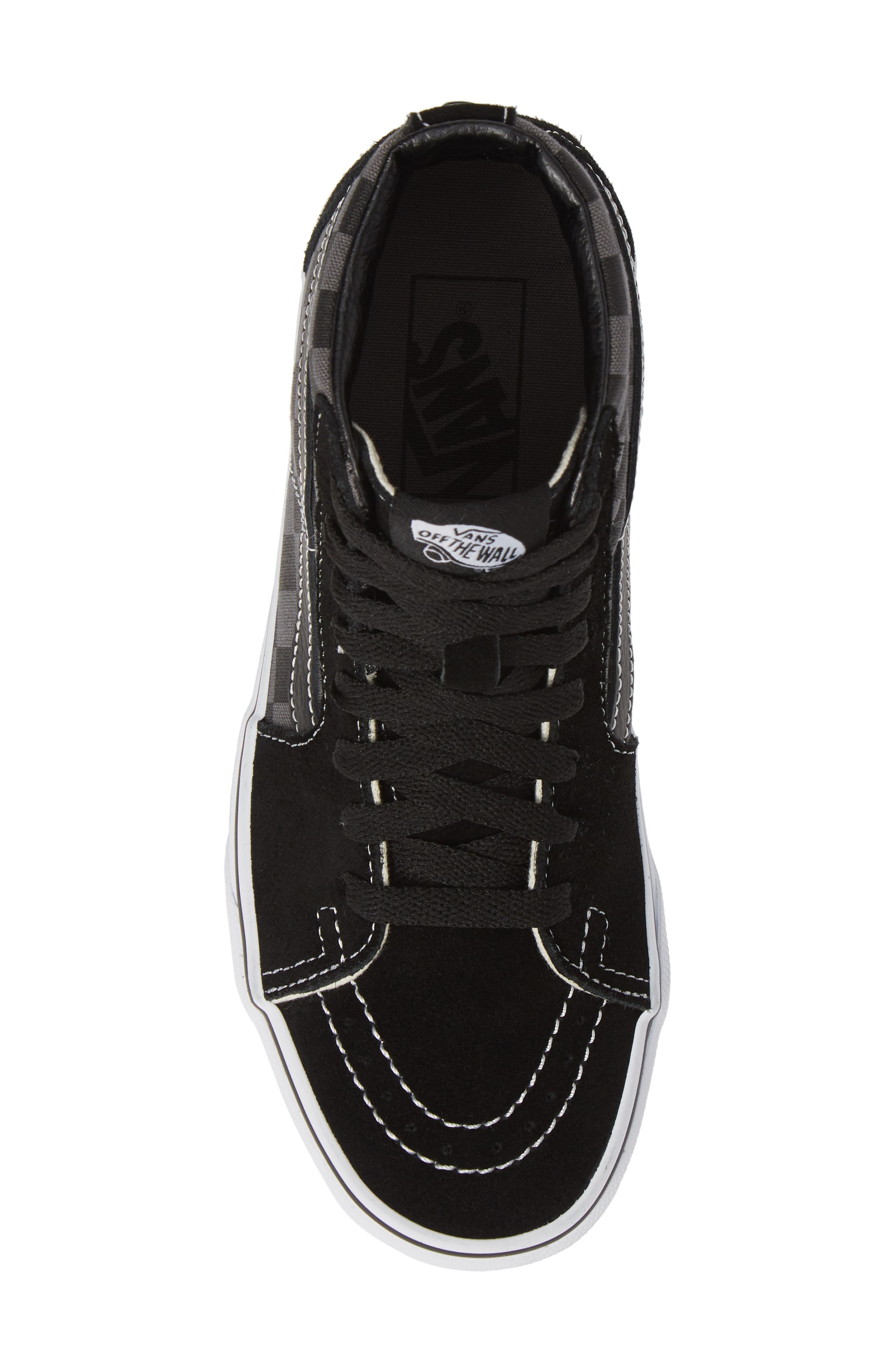 Sk8-Hi Checker Sneaker,                             Alternate thumbnail 5, color,                             BLACK/ PEWTER CHECKERBOARD