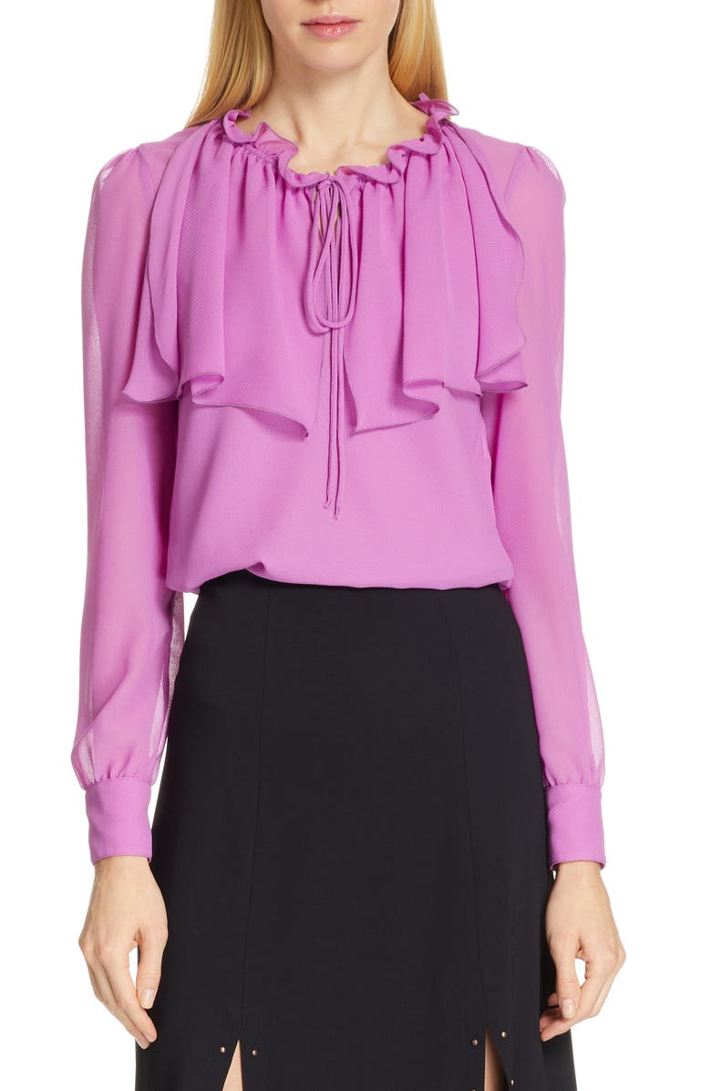 Ruffle Neck Blouse, Main, color, STRIKING PURPLE