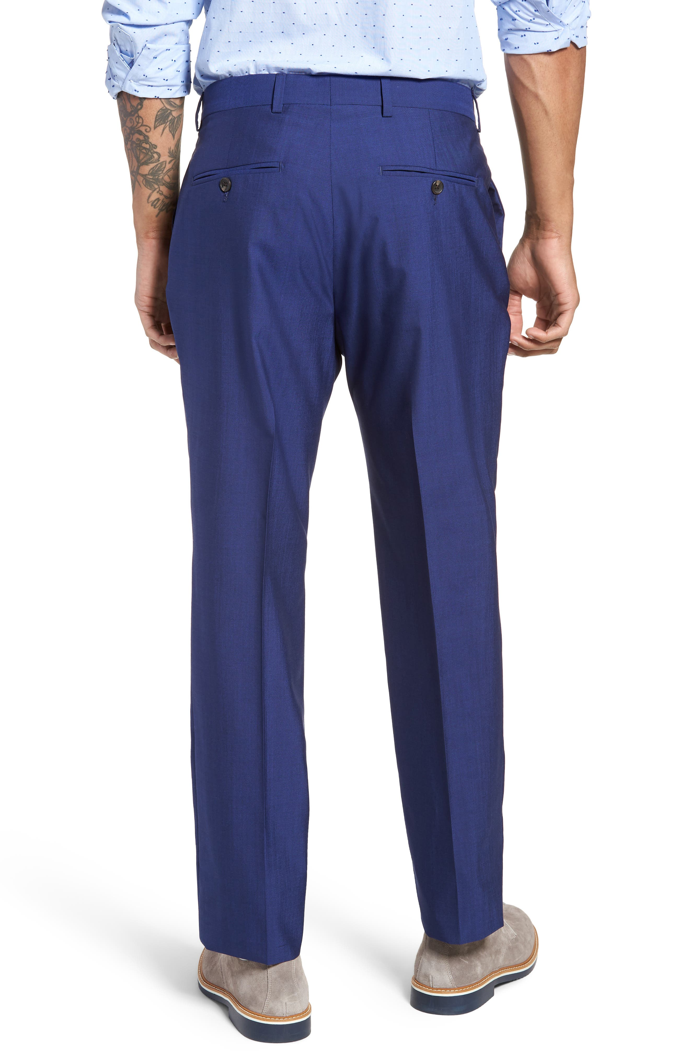 Dagger Flat Front Solid Wool Trousers,                             Alternate thumbnail 2, color,