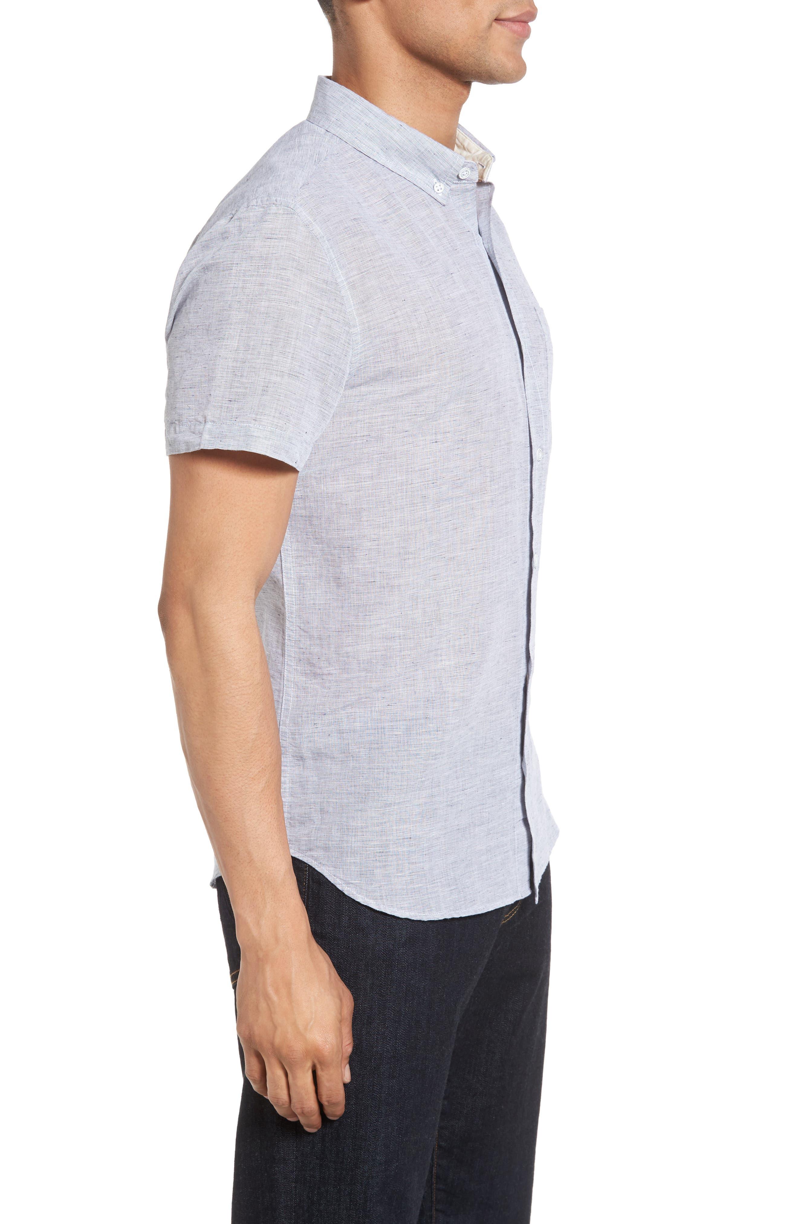 Nash Slim Fit Linen & Cotton Sport Shirt,                             Alternate thumbnail 3, color,                             020