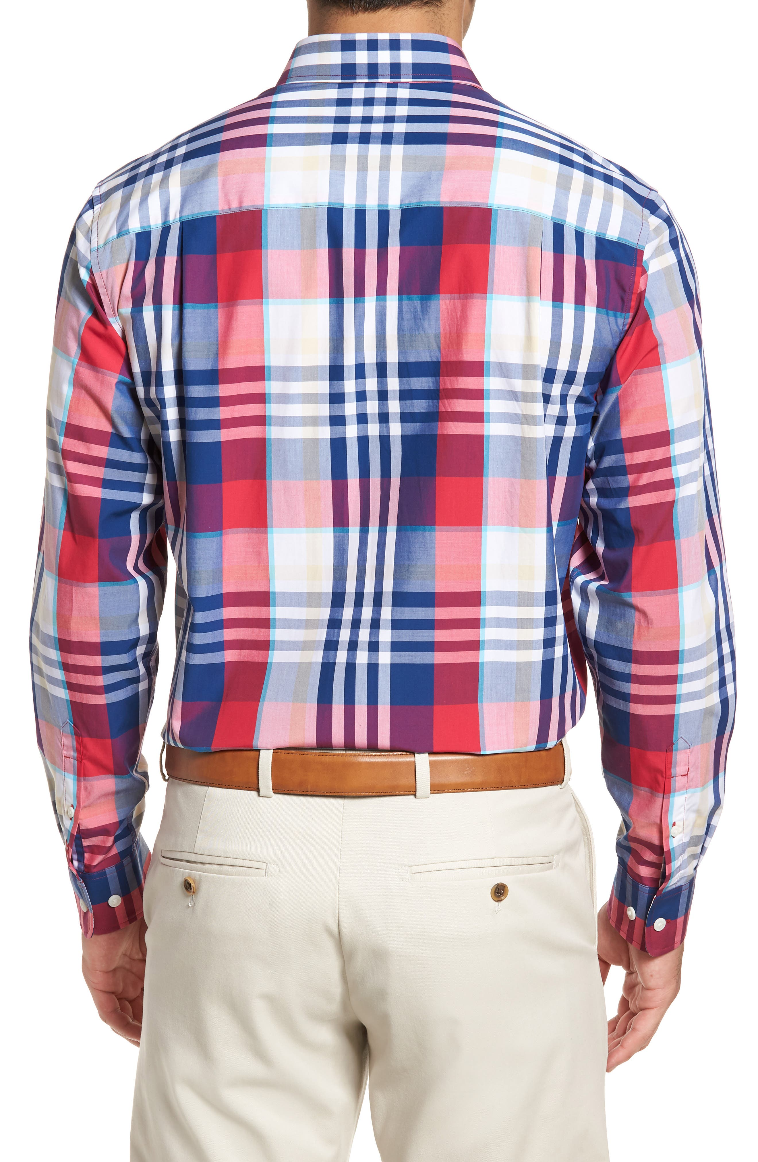 Cooper Classic Fit Non-Iron Plaid Sport Shirt,                             Alternate thumbnail 4, color,