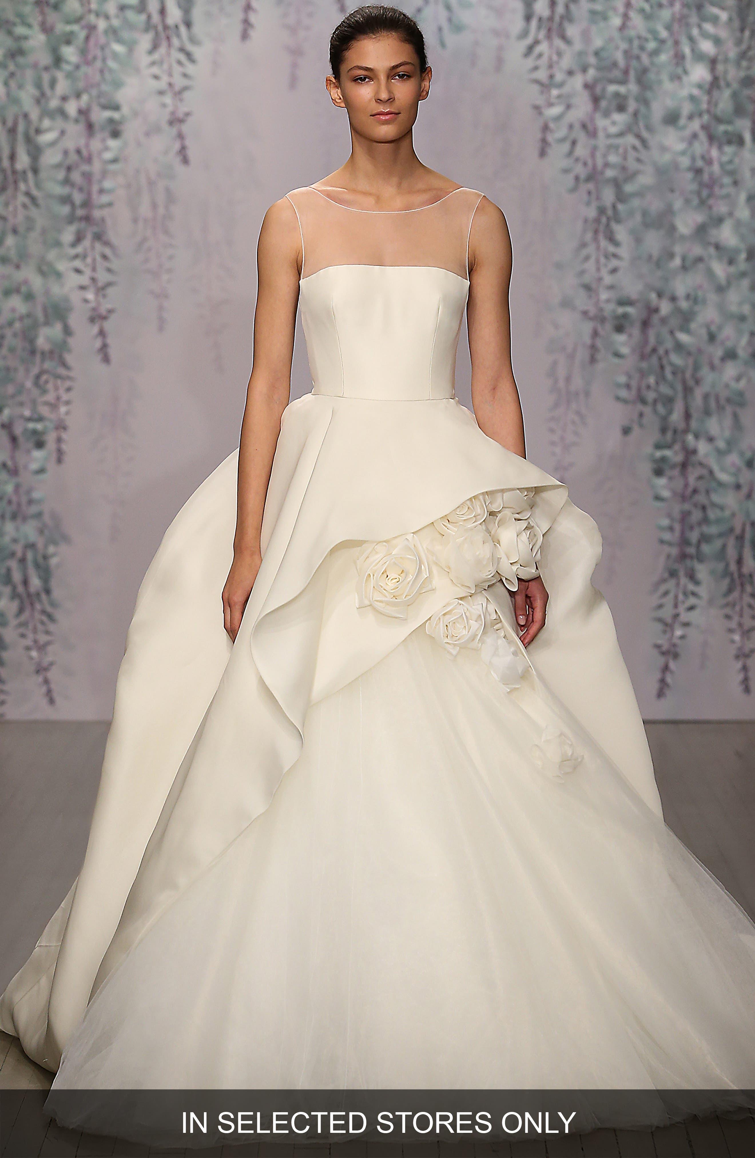 Rosette Detail Silk Ballgown Dress,                             Alternate thumbnail 2, color,                             IVORY