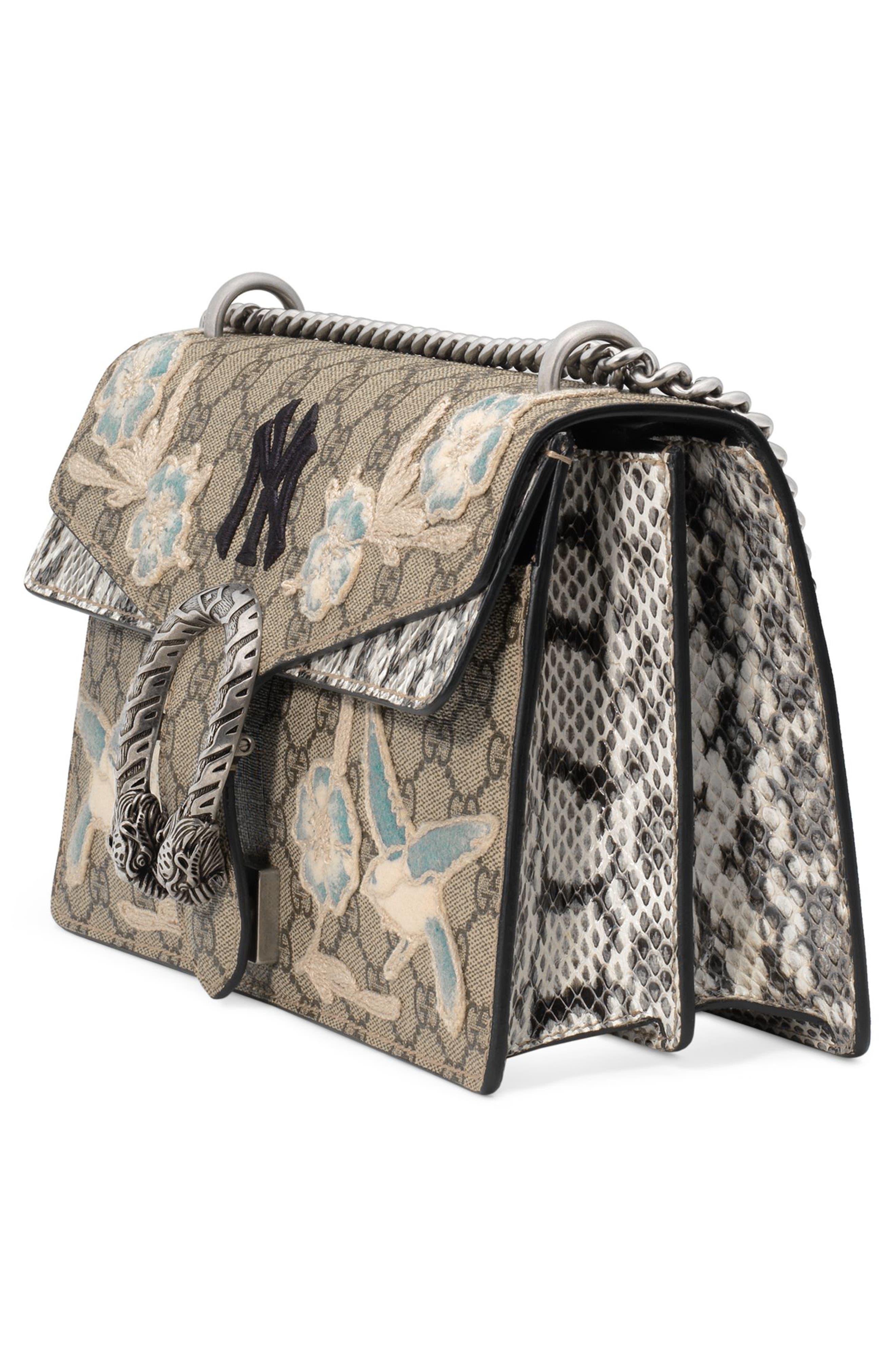 Medium Dionysus GG Supreme & Genuine Snakeskin Shoulder Bag,                             Alternate thumbnail 4, color,                             BEIGE EBONY/ ROCCIA MULTI