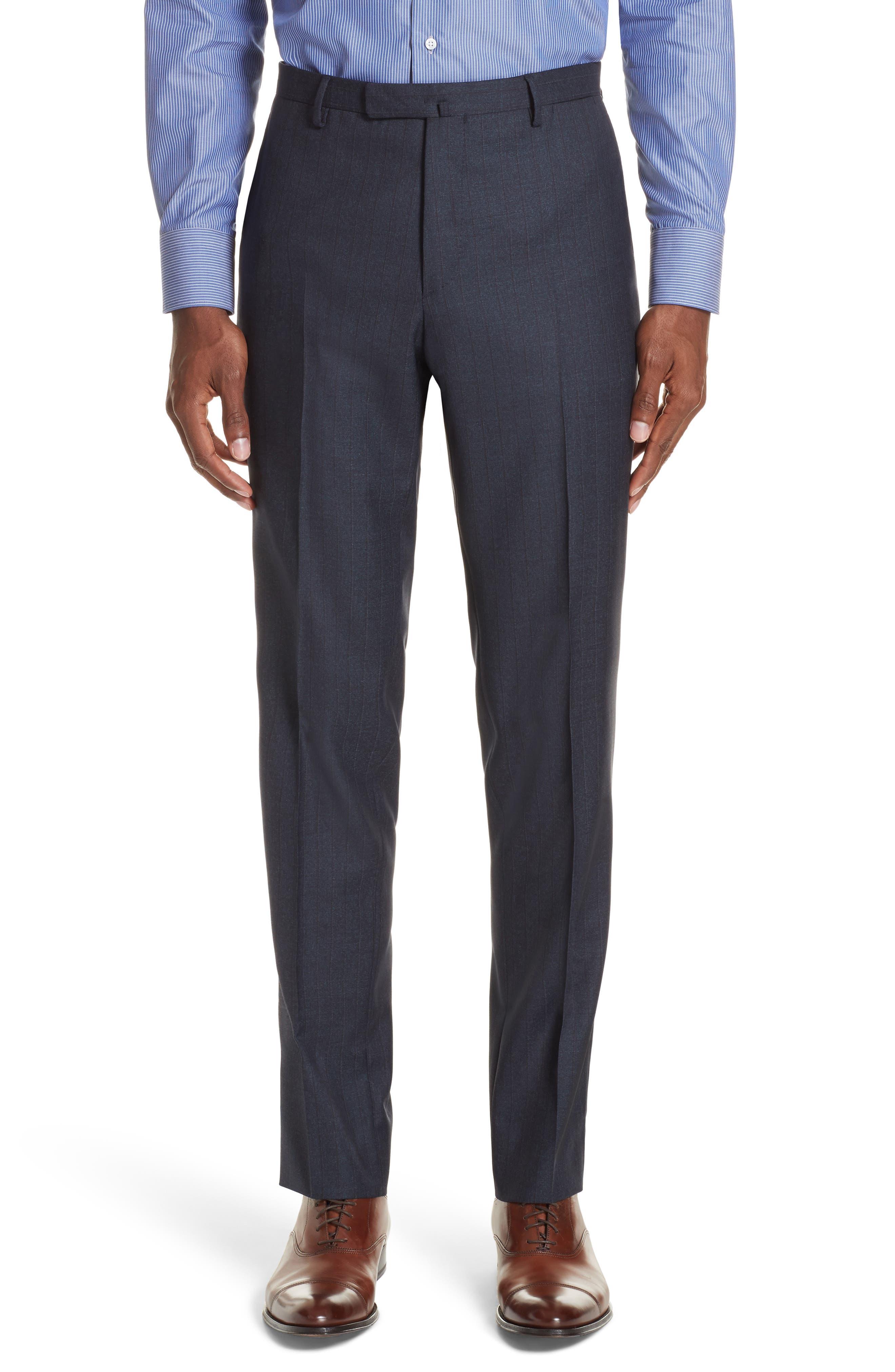Trim Fit Stripe Wool Suit,                             Alternate thumbnail 6, color,                             NAVY