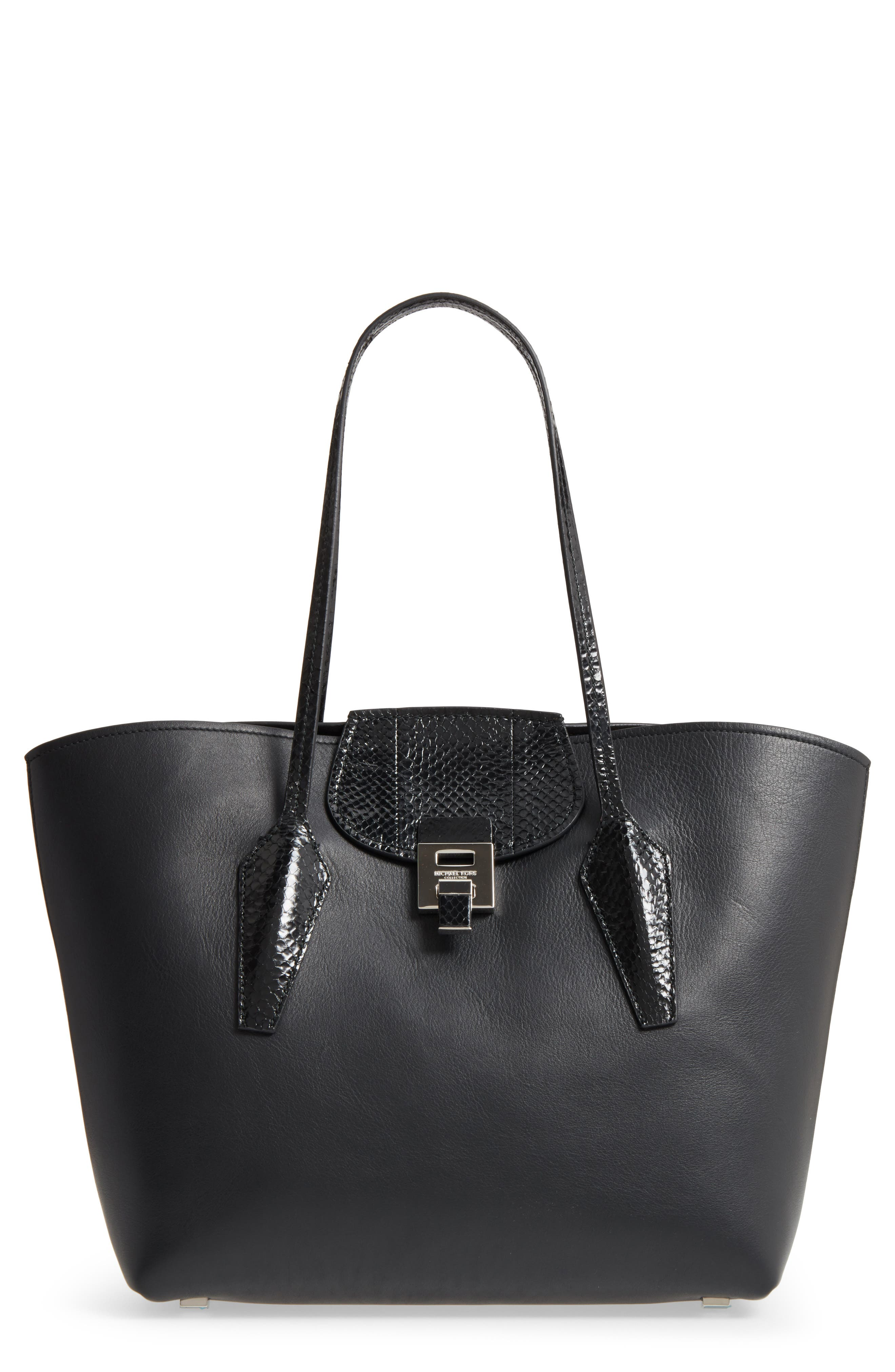 Large Bancroft Leather Tote with Genuine Snakeskin Trim,                             Main thumbnail 1, color,                             001