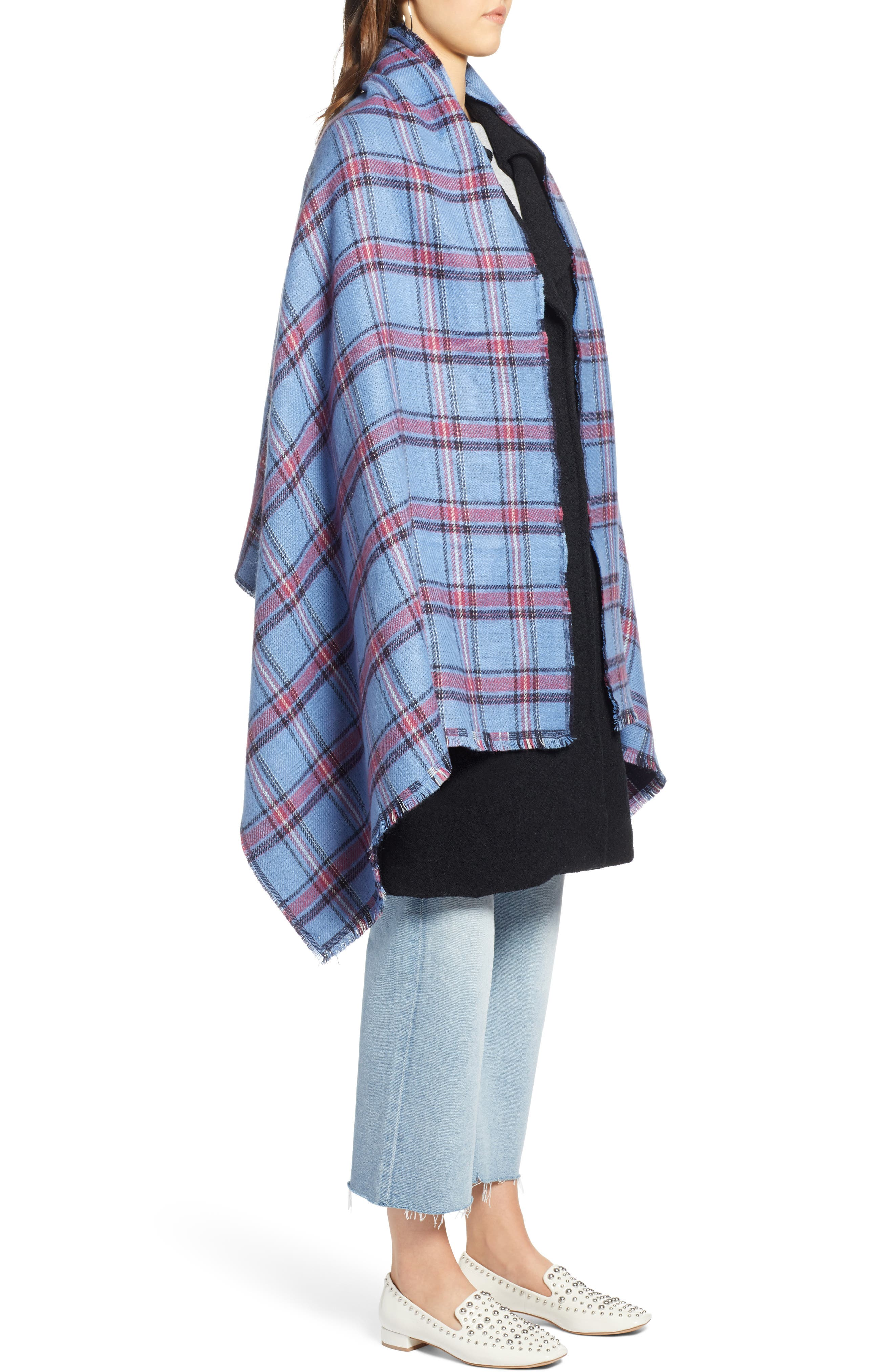 x Atlantic-Pacific Plaid Double Sided Blanket Wrap,                             Alternate thumbnail 5, color,                             410