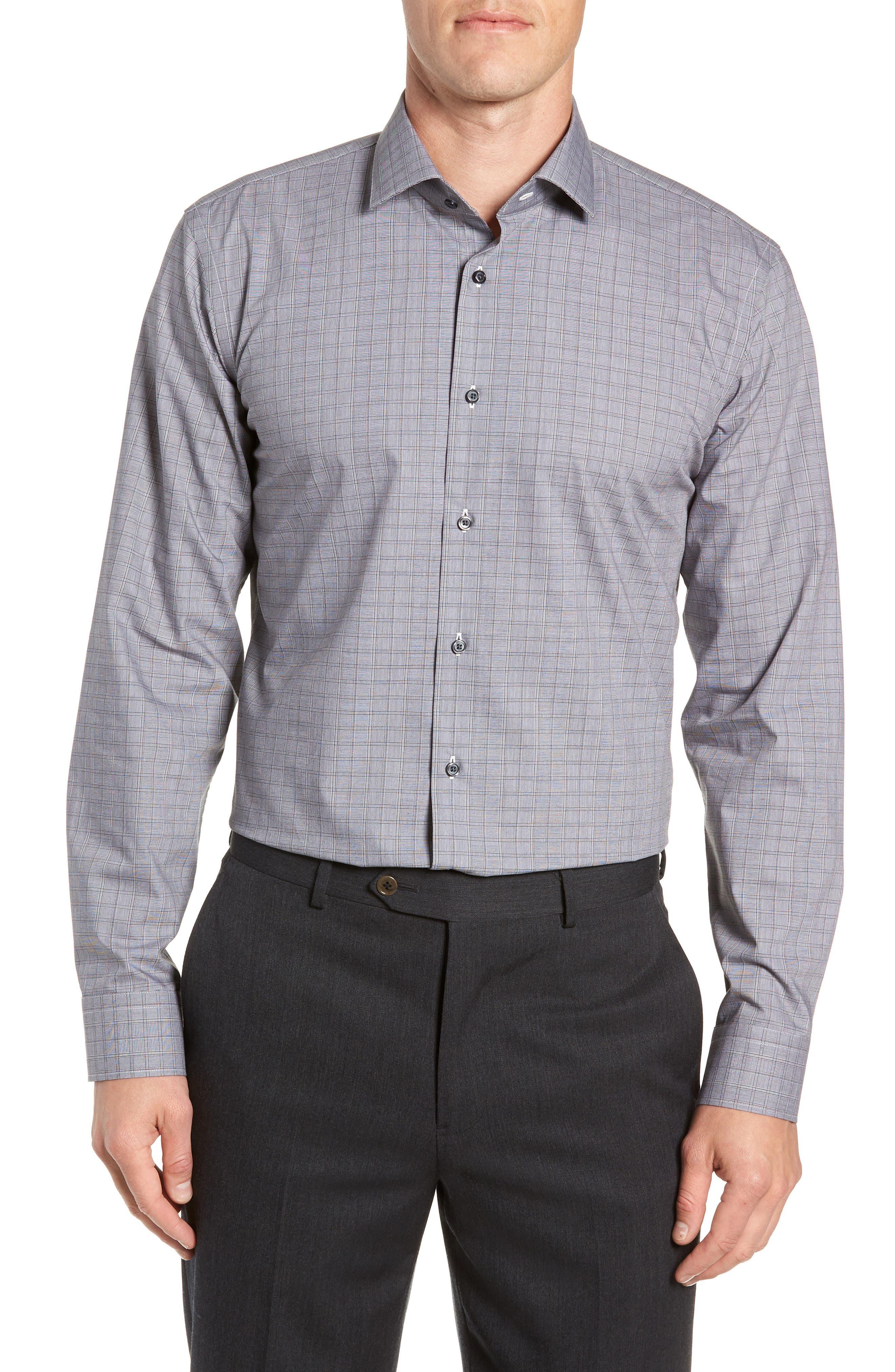 Trim Fit Stretch Non-Iron Check Dress Shirt,                             Main thumbnail 1, color,                             BLACK METEORITE