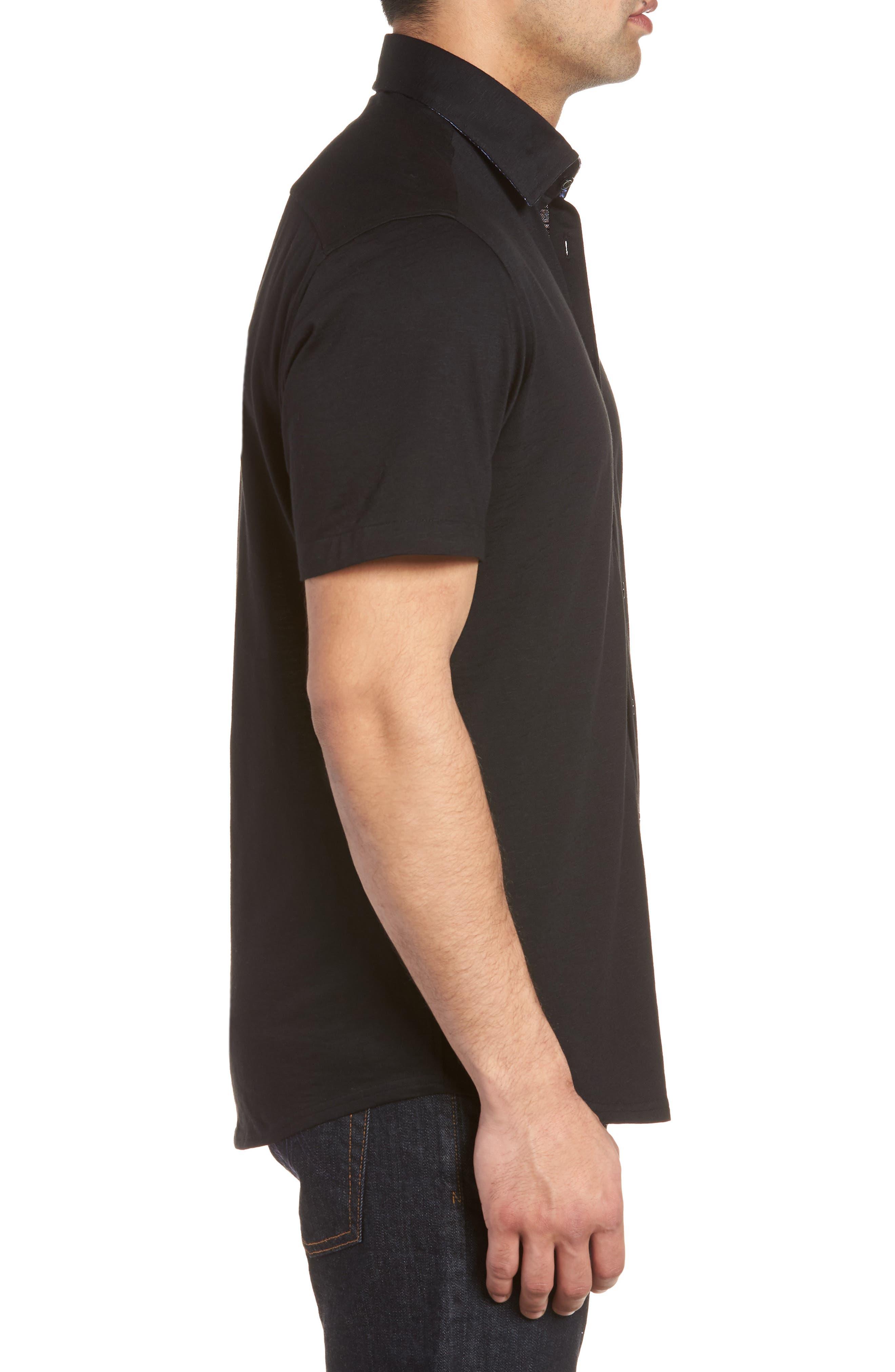 Slim Fit Flame Knit Sport Shirt,                             Alternate thumbnail 4, color,                             BLACK