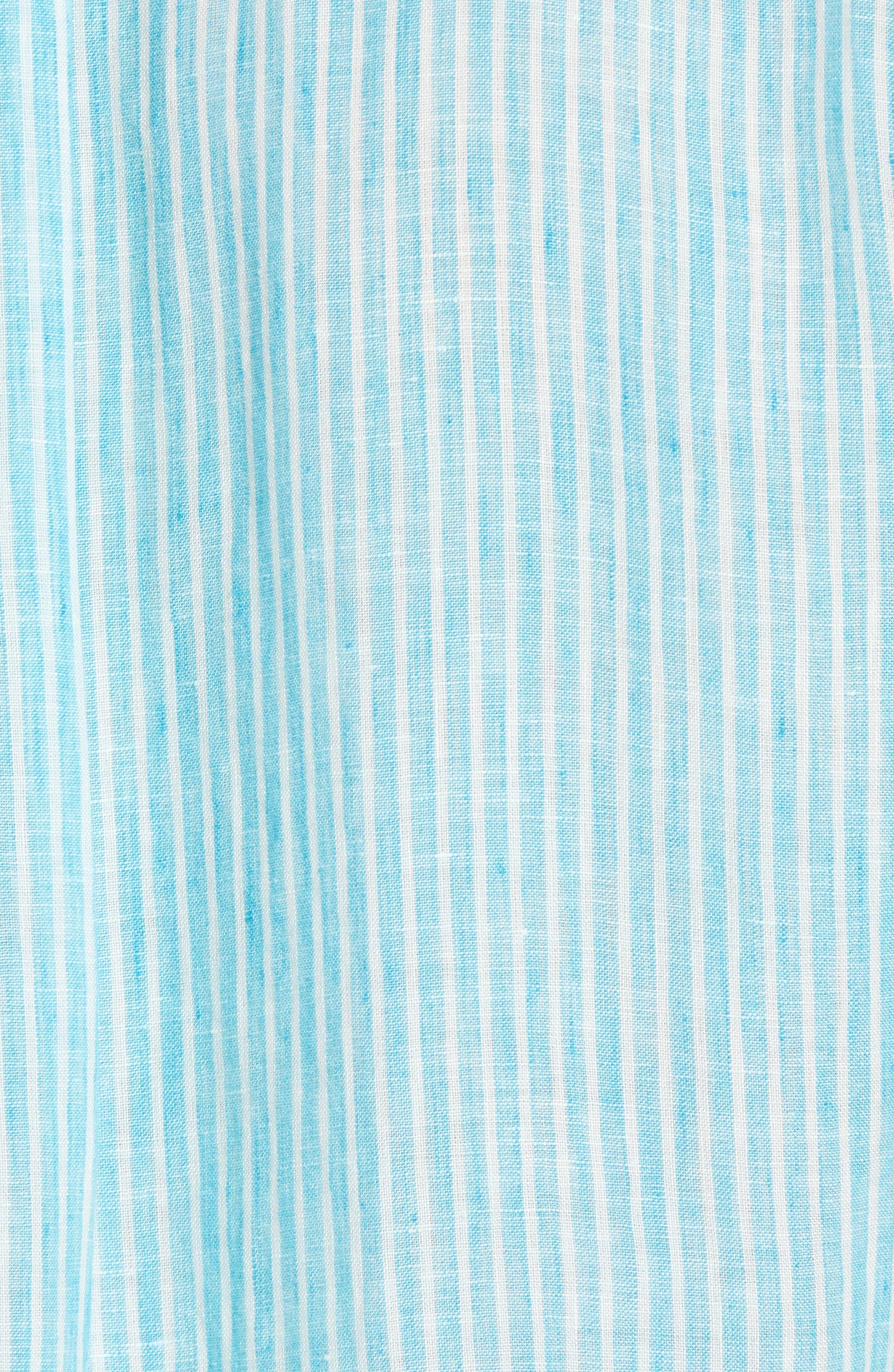 Warwick Junction Stripe Linen Sport Shirt,                             Alternate thumbnail 5, color,                             TEAL