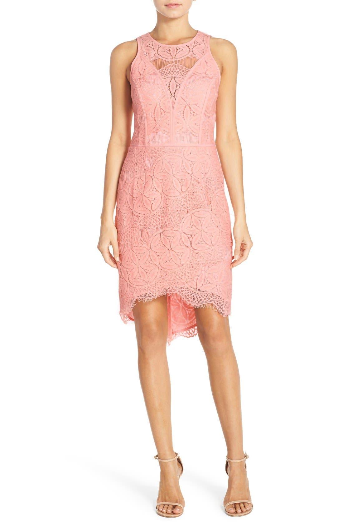 Lace High/Low Sheath Dress,                             Alternate thumbnail 26, color,