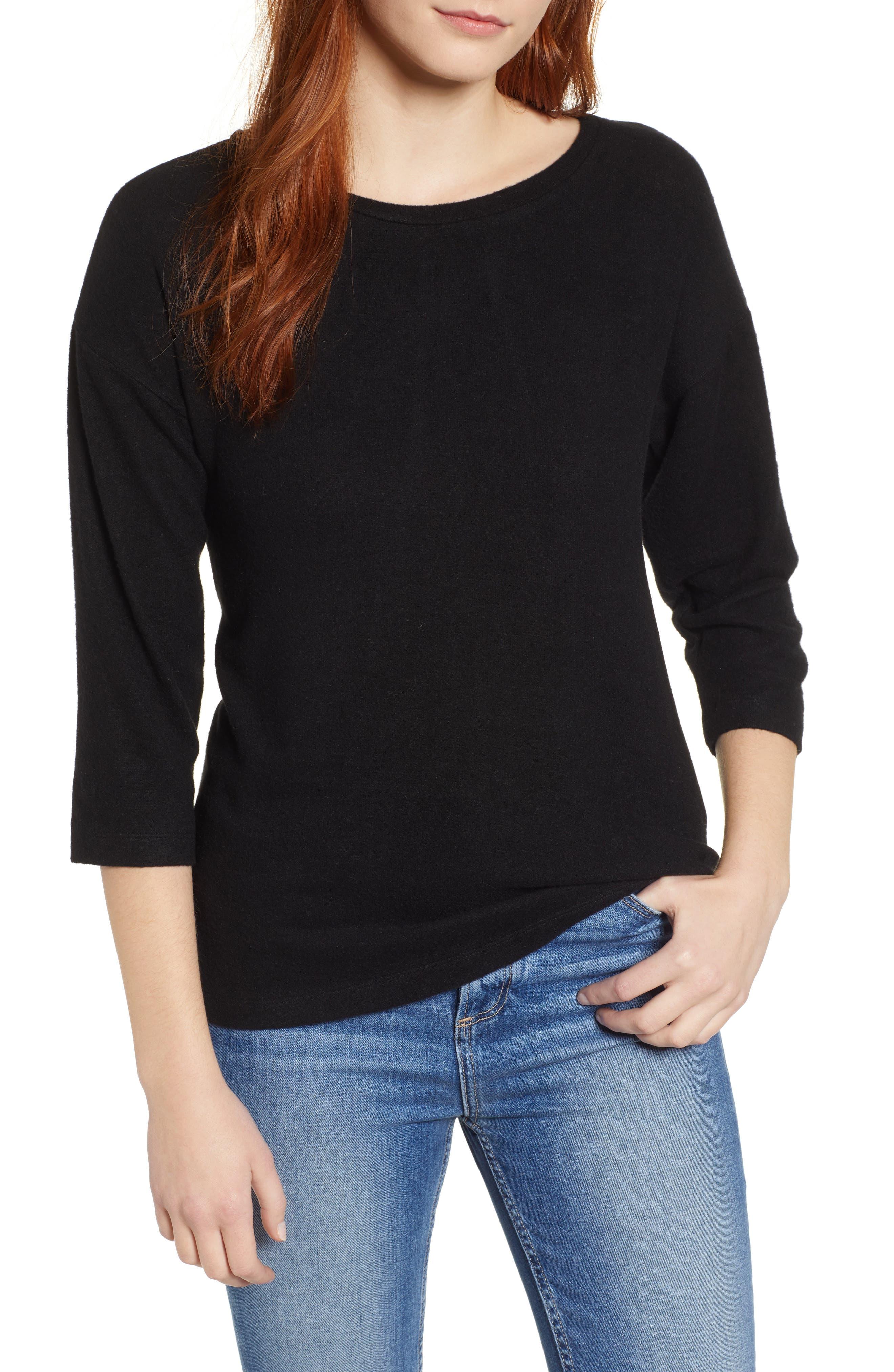 BOBEAU Pleat Back Pullover, Main, color, 001