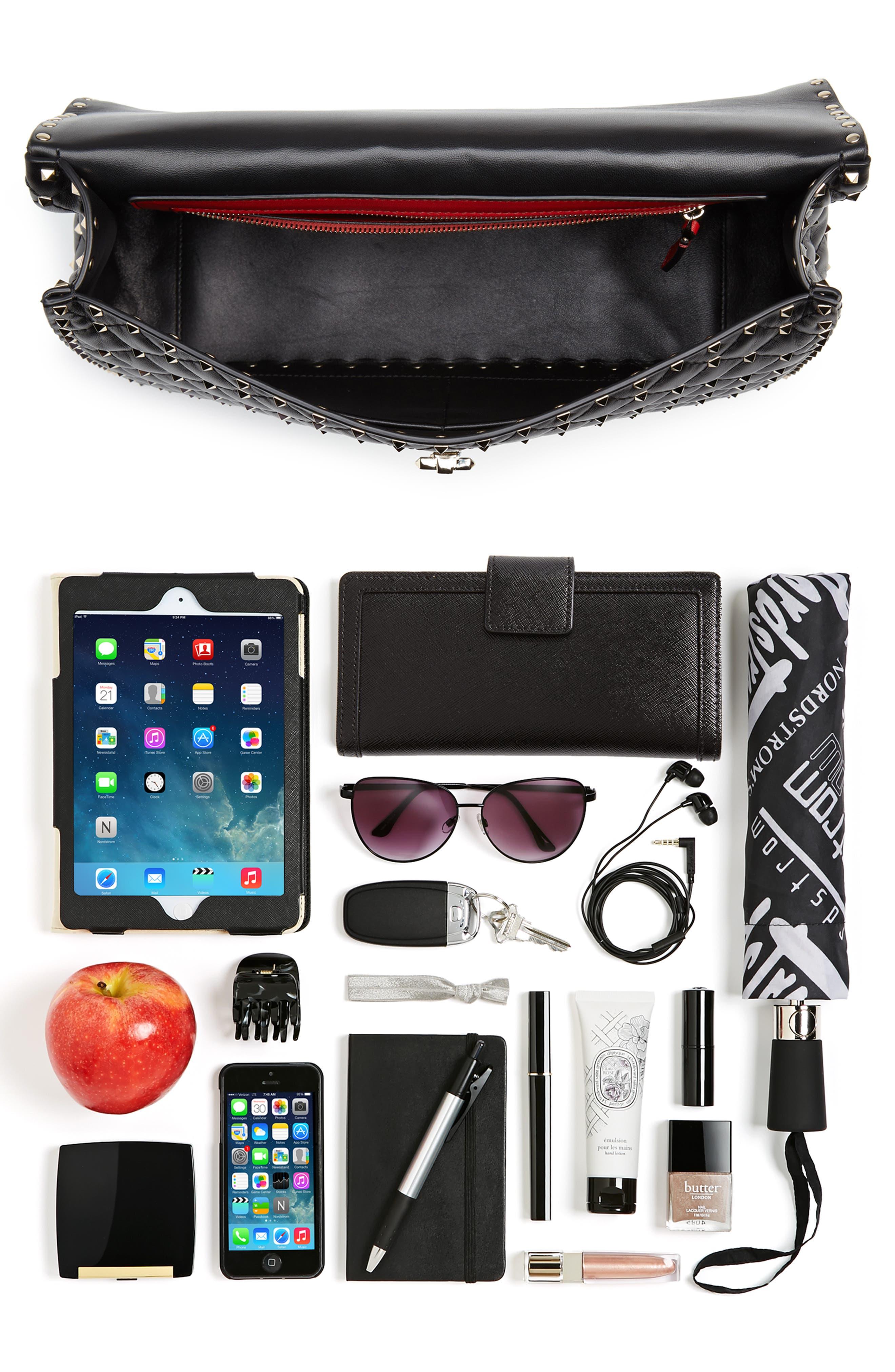 Rockstud Spike Maxi Shoulder Bag,                             Alternate thumbnail 7, color,                             BLACK