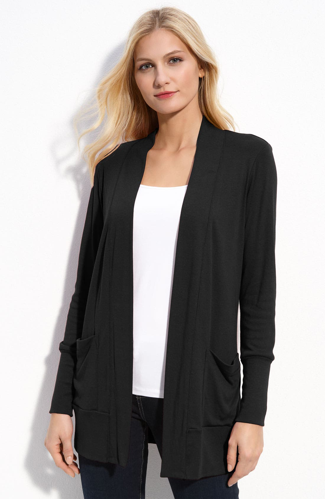 BOBEAU Long Pocket Cardigan, Main, color, 001