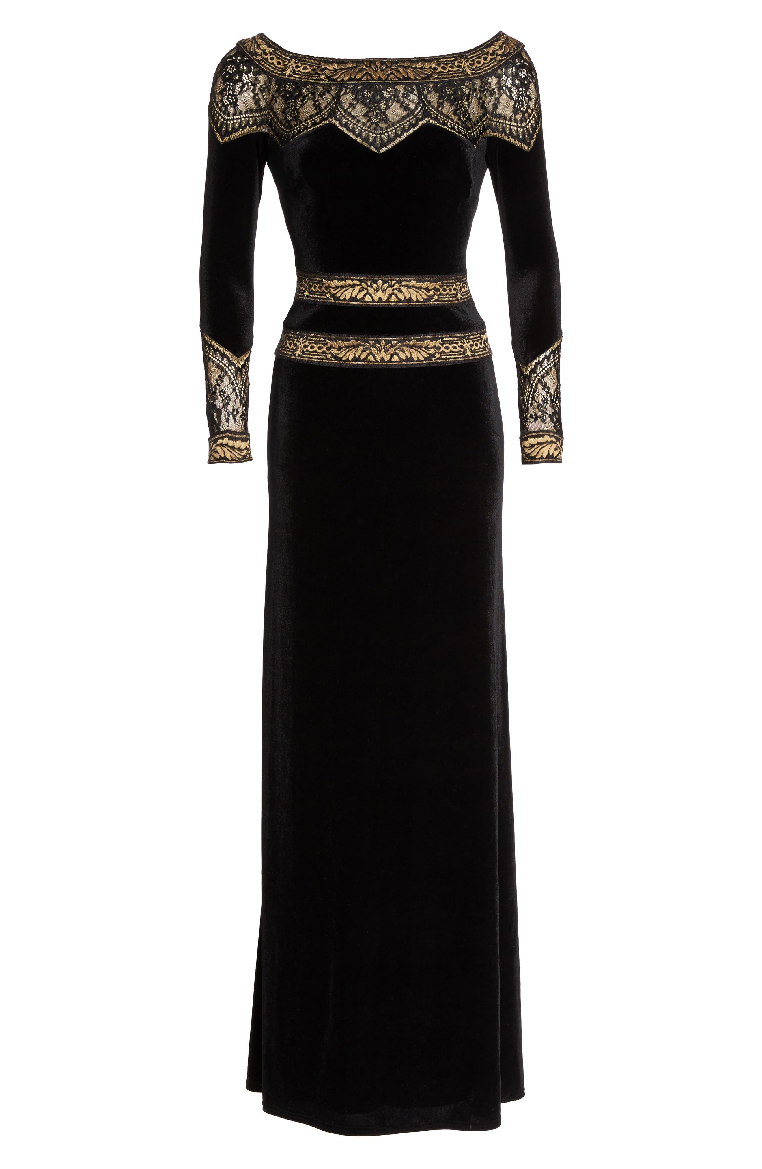 Lace Trim Velvet Gown,                             Alternate thumbnail 6, color,                             006