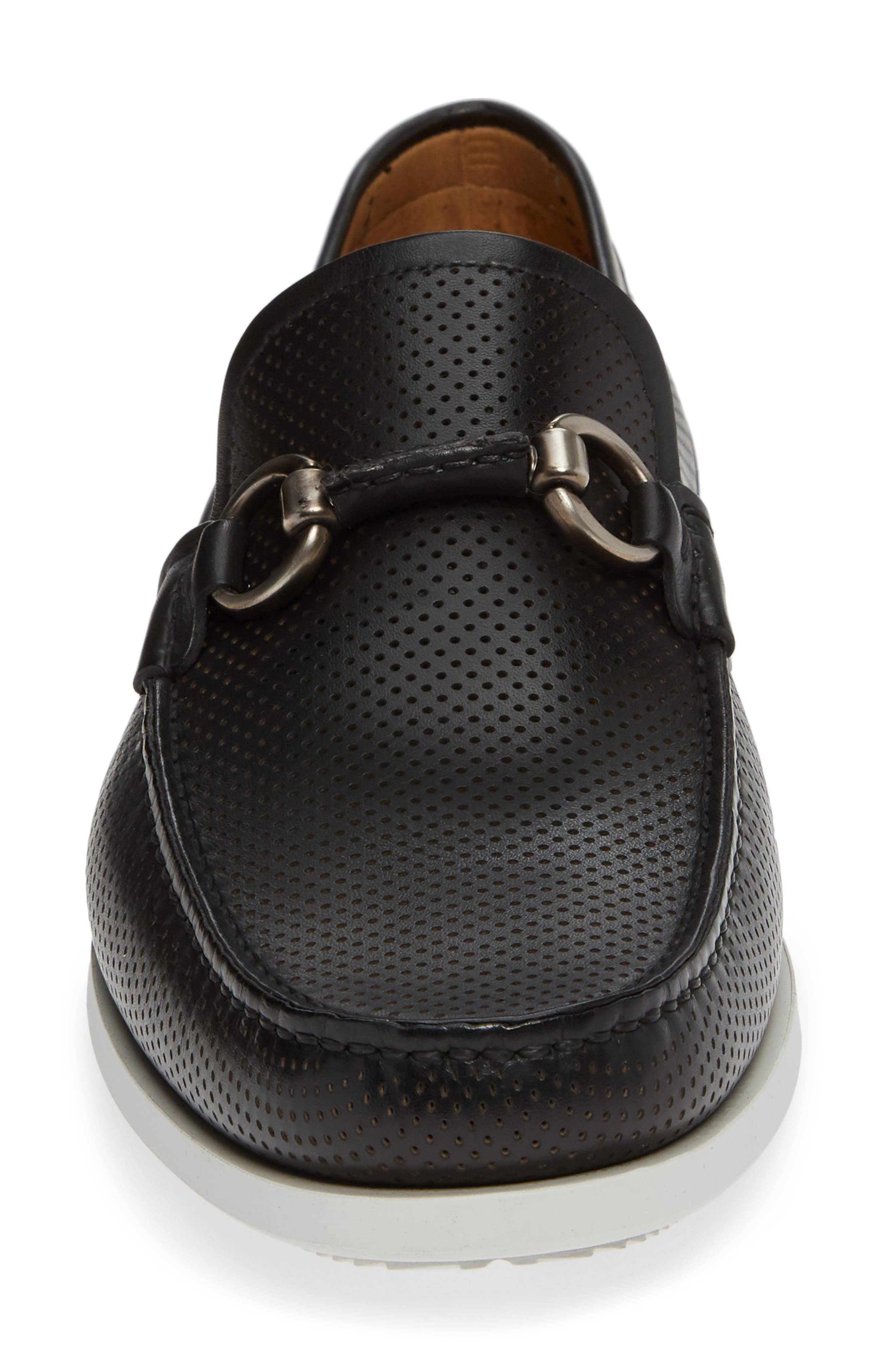 Beasley Perforated Moc Toe Bit Loafer,                             Alternate thumbnail 4, color,                             BLACK LEATHER