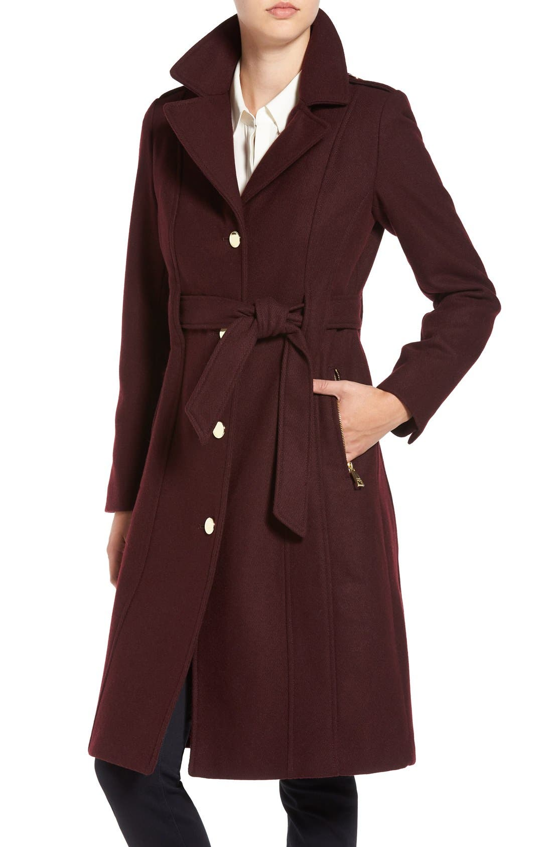 GUESS,                             Trench Coat with Faux Fur Trim,                             Alternate thumbnail 4, color,                             240