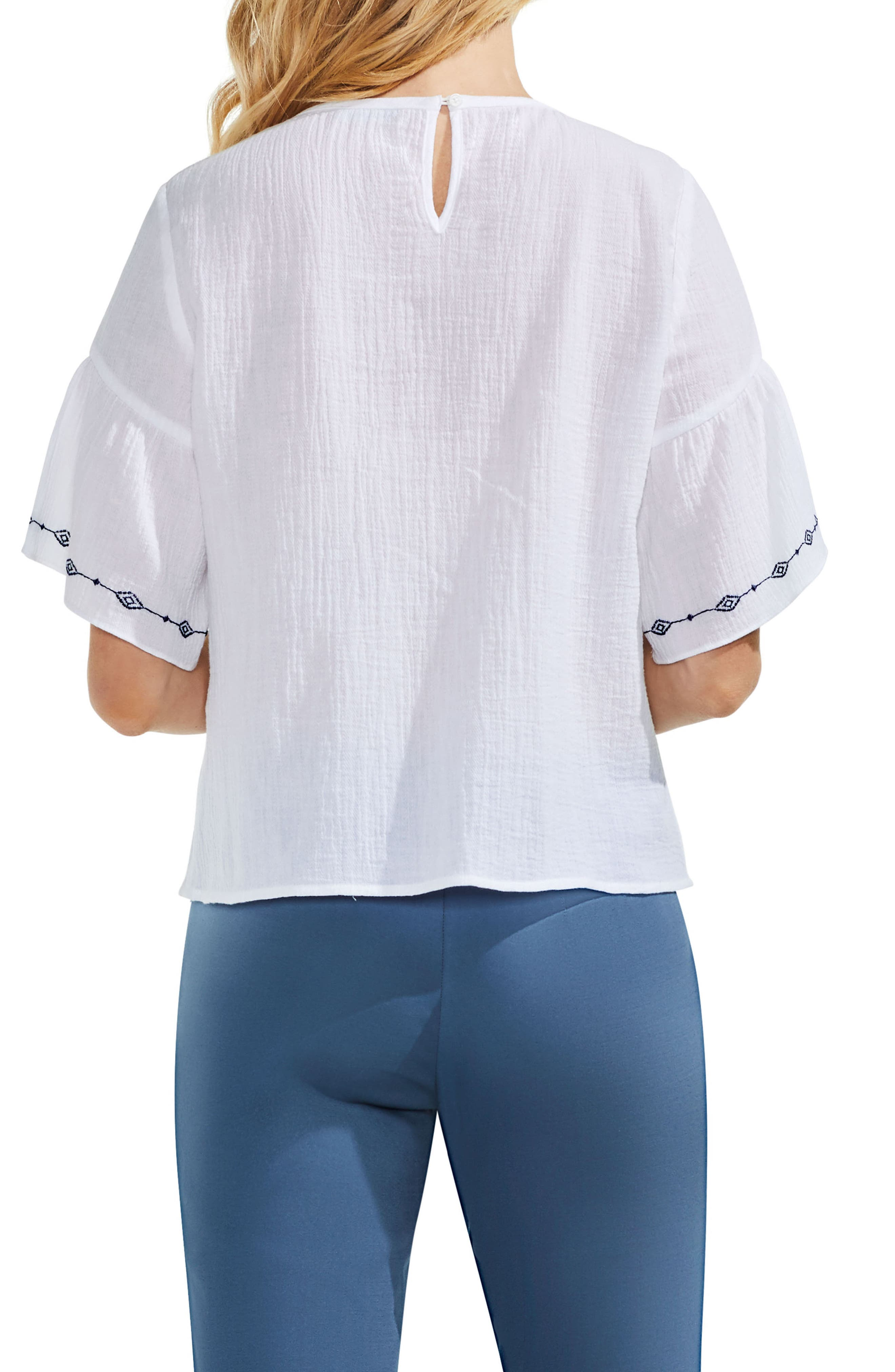 Embroidered Crinkle Cotton Top,                             Alternate thumbnail 2, color,                             145