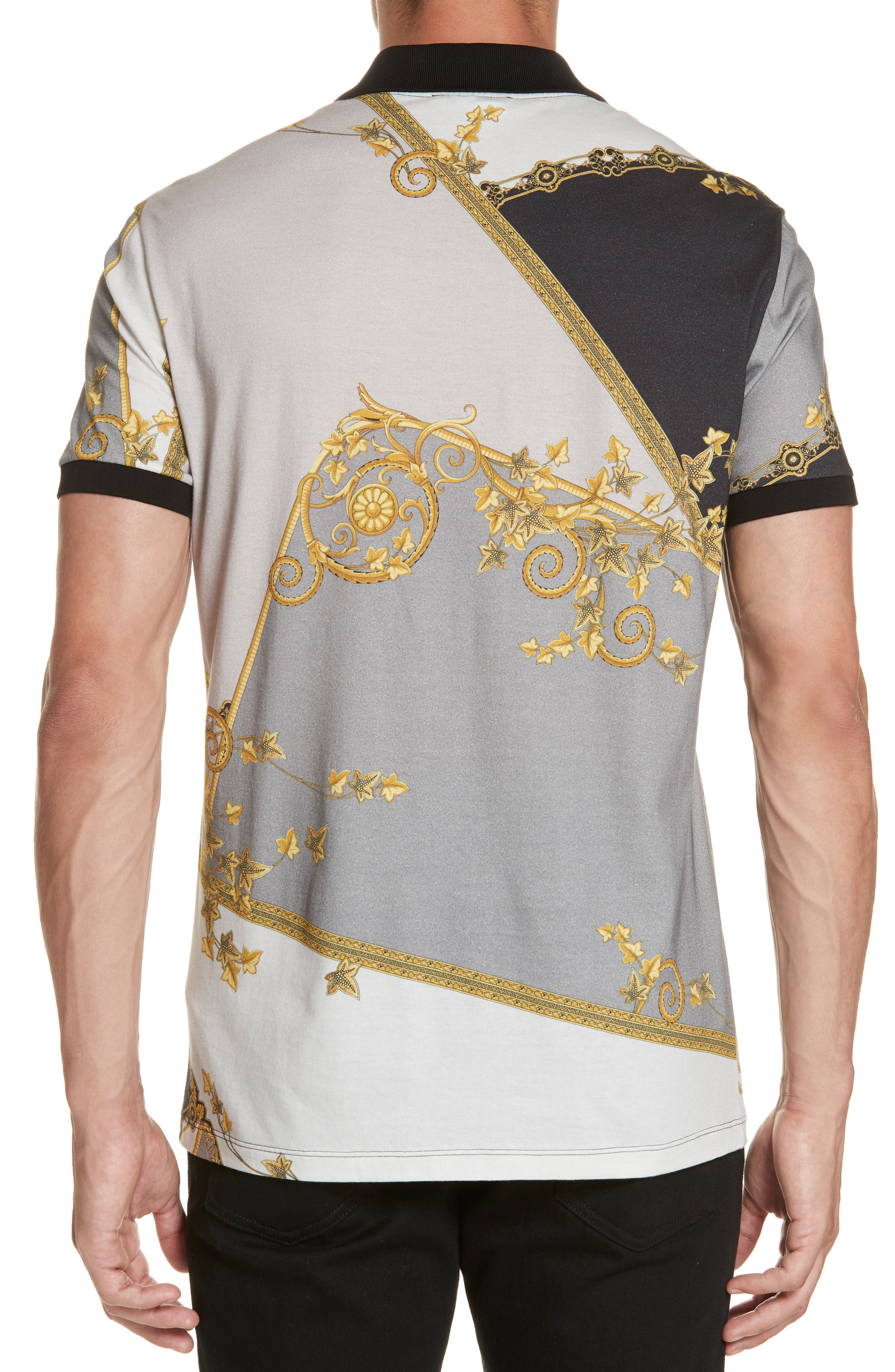 VERSACE COLLECTION,                             Print Jersey Polo,                             Alternate thumbnail 2, color,                             GREY PRINT