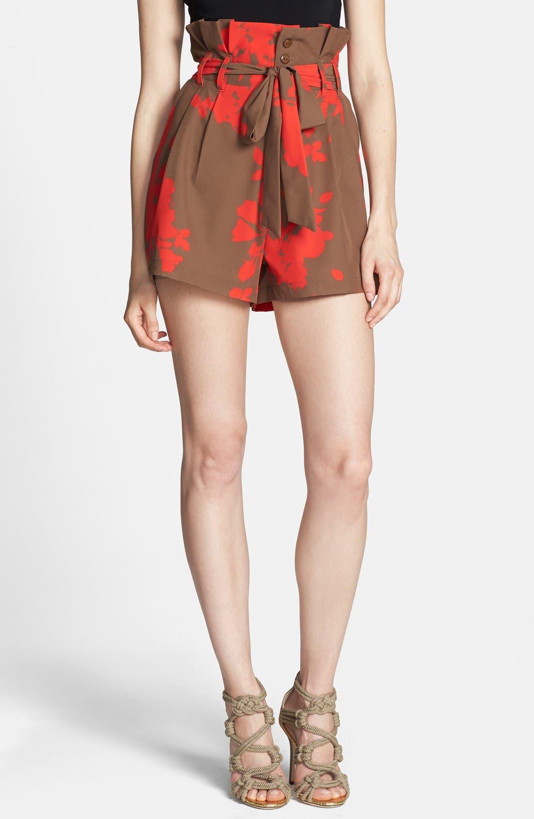 Print Tie Waist Paper Bag Shorts,                             Main thumbnail 1, color,                             210