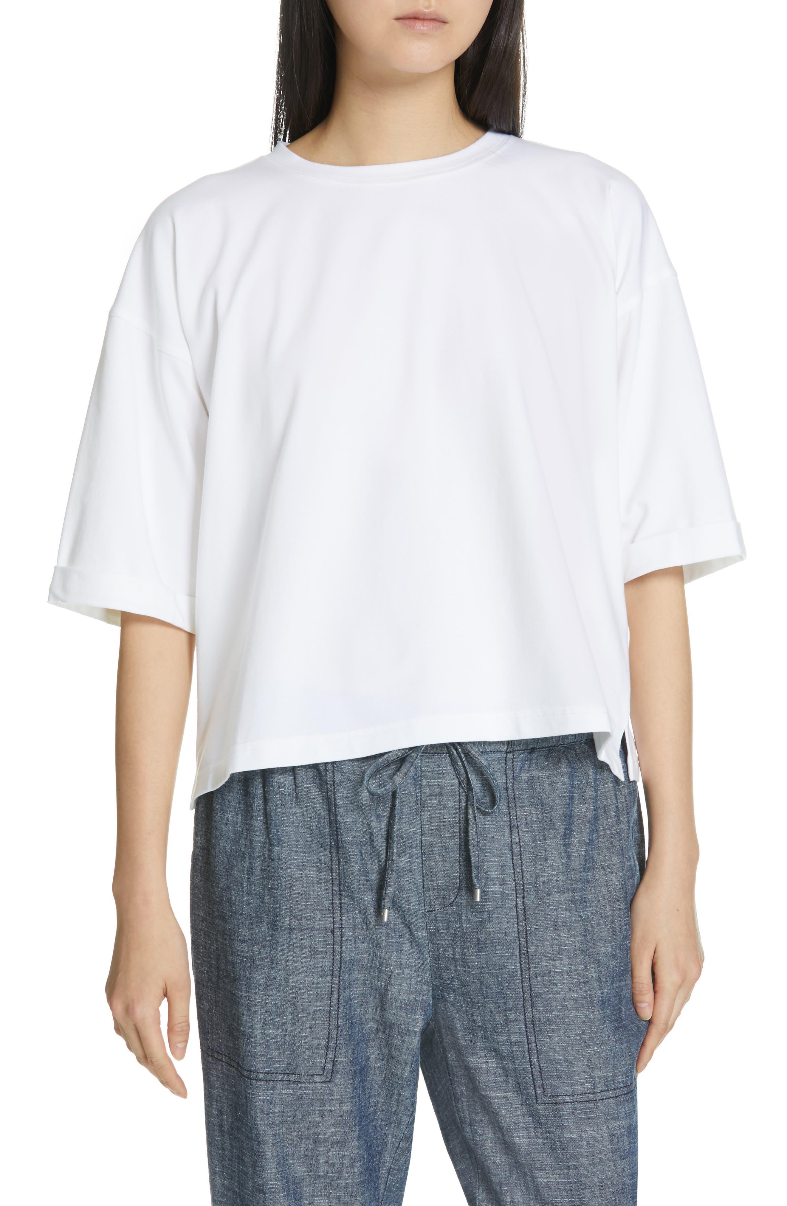 Eileen Fisher Stretch Organic Cotton Top, White