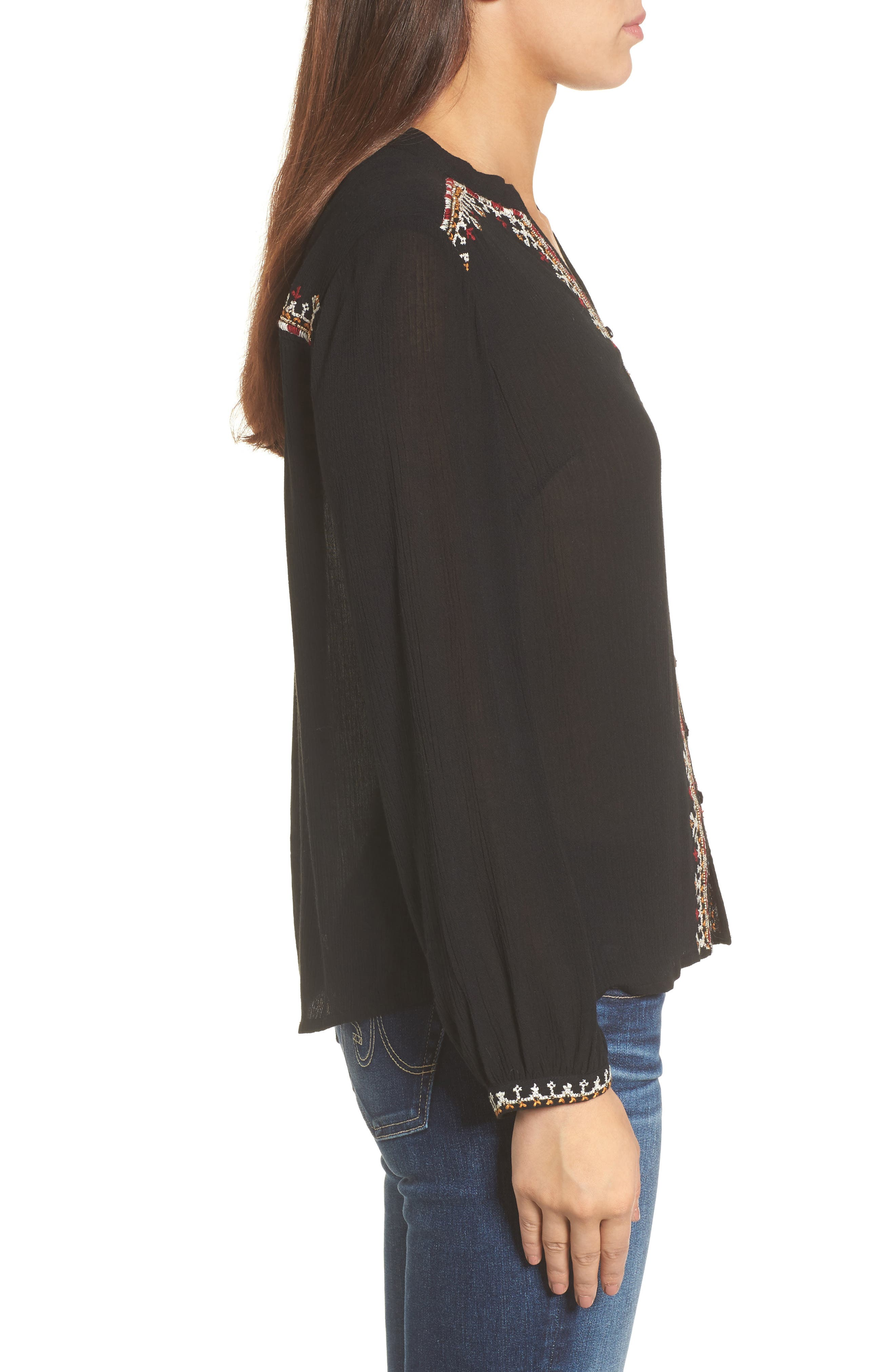 Embroidered Top,                             Alternate thumbnail 3, color,                             001