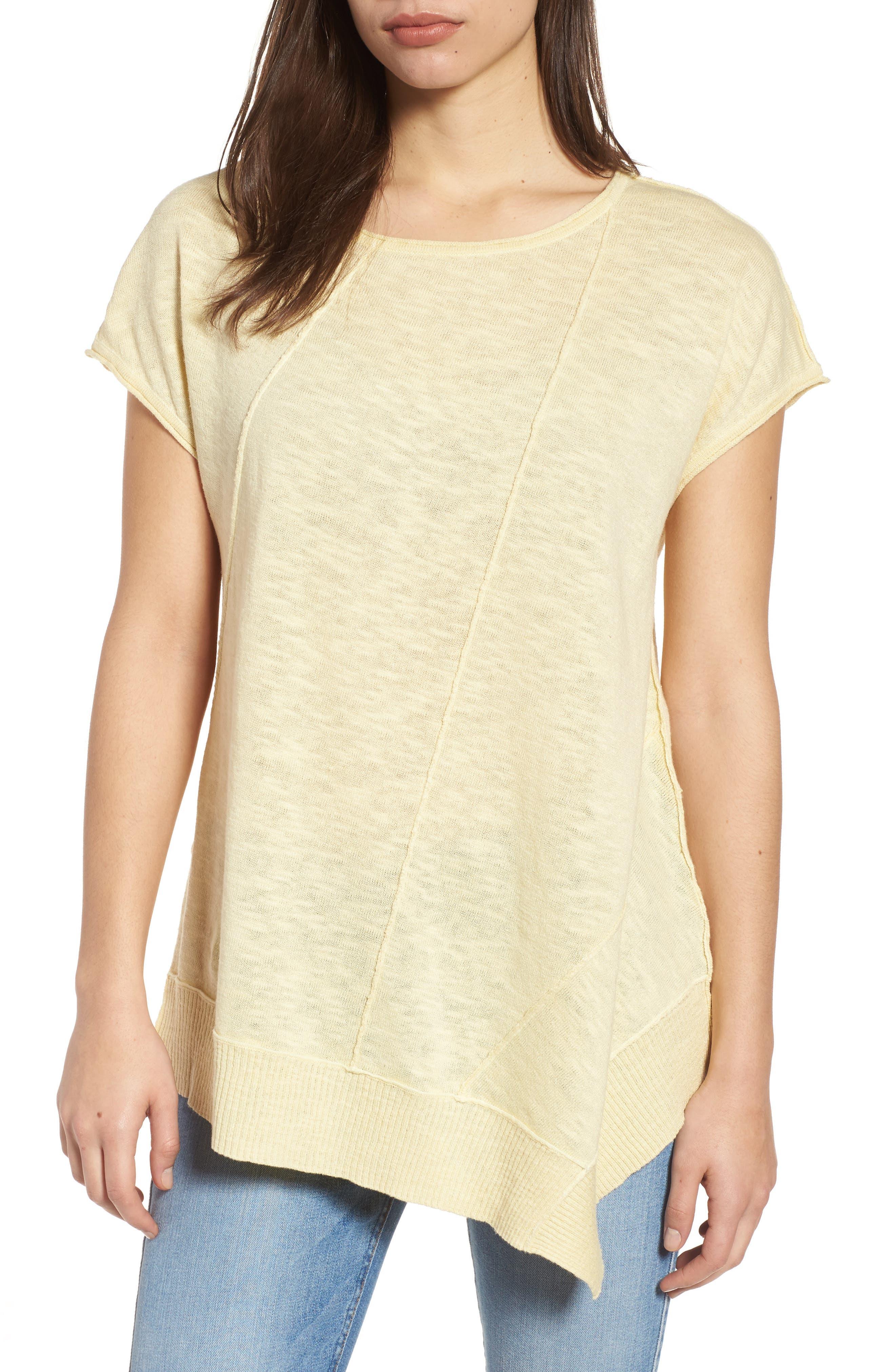 Cap Sleeve Organic Linen & Cotton Scoop Neck Top,                             Main thumbnail 3, color,