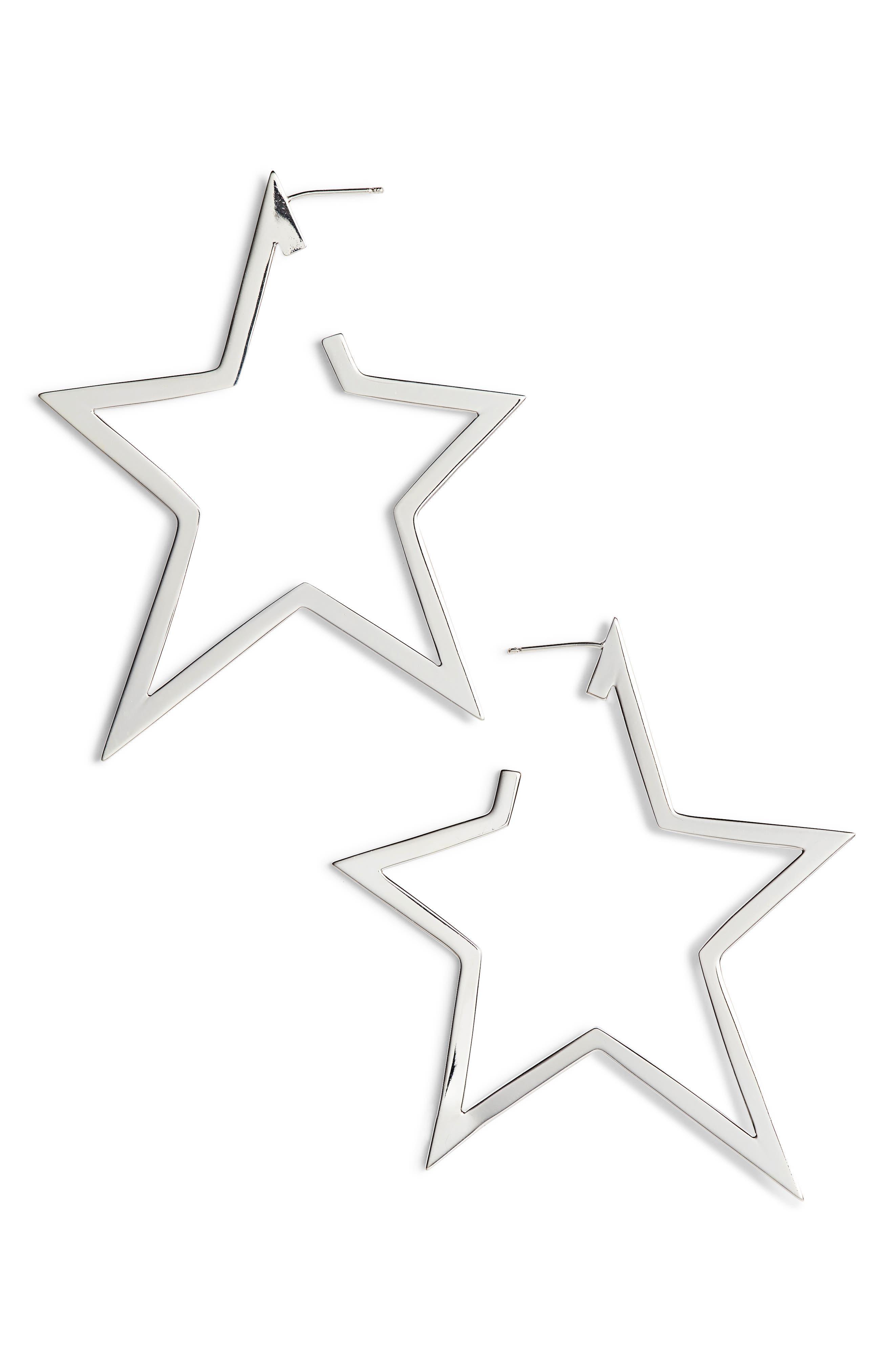 Sade X-Large Star Hoop Earrings,                             Main thumbnail 1, color,                             STERLING SILVER