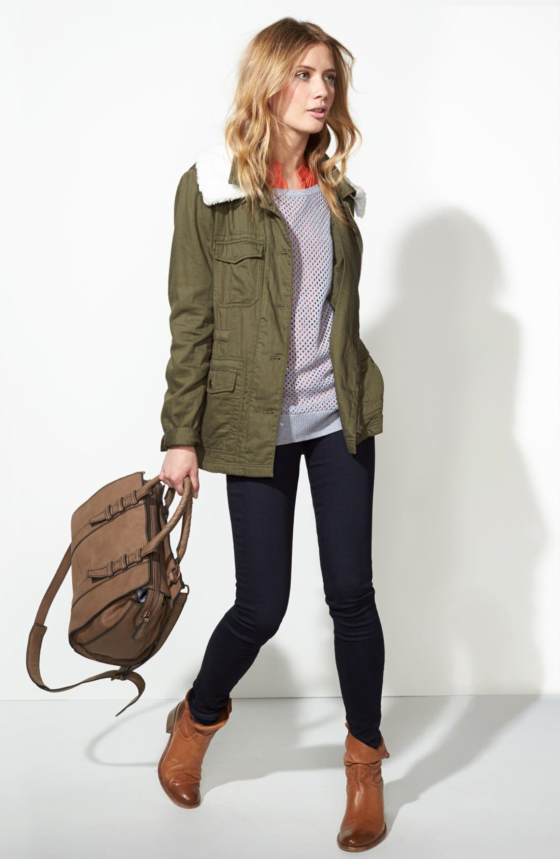 Removable Faux Shearling Collar Utility Jacket,                             Alternate thumbnail 6, color,                             300