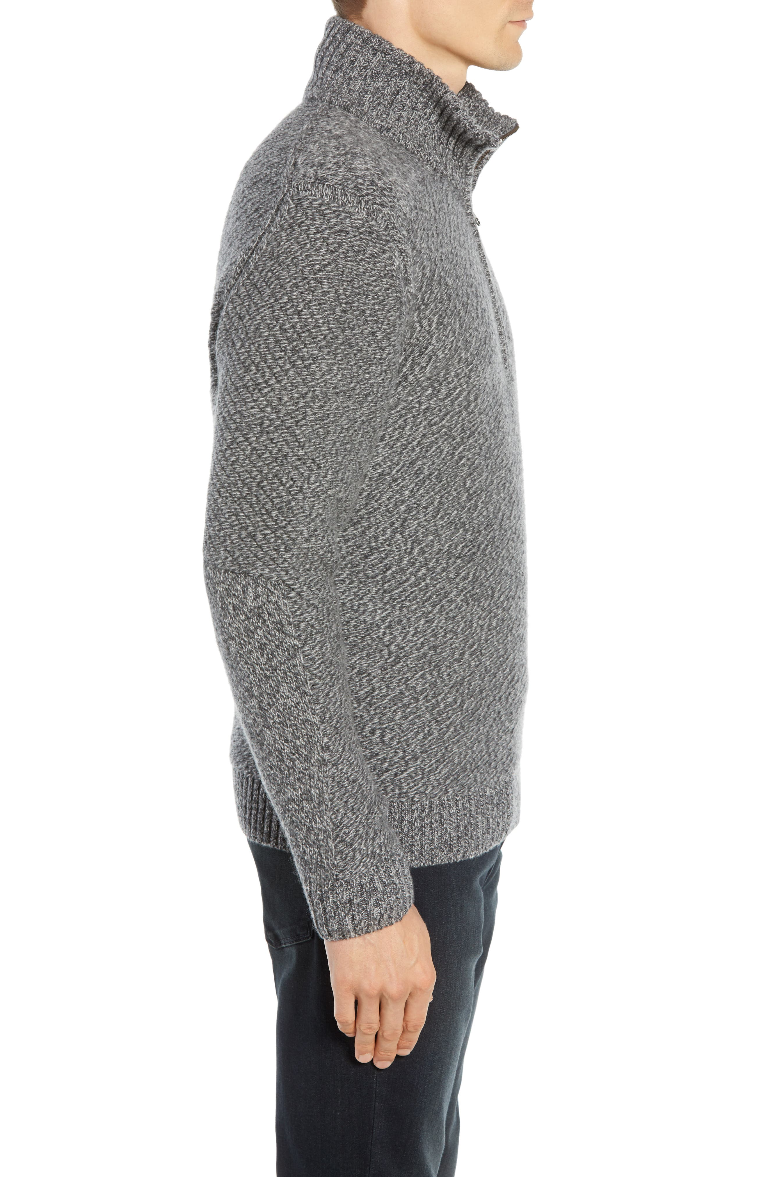 Cashmere Half Zip Sweater,                             Alternate thumbnail 3, color,                             CHARCOAL