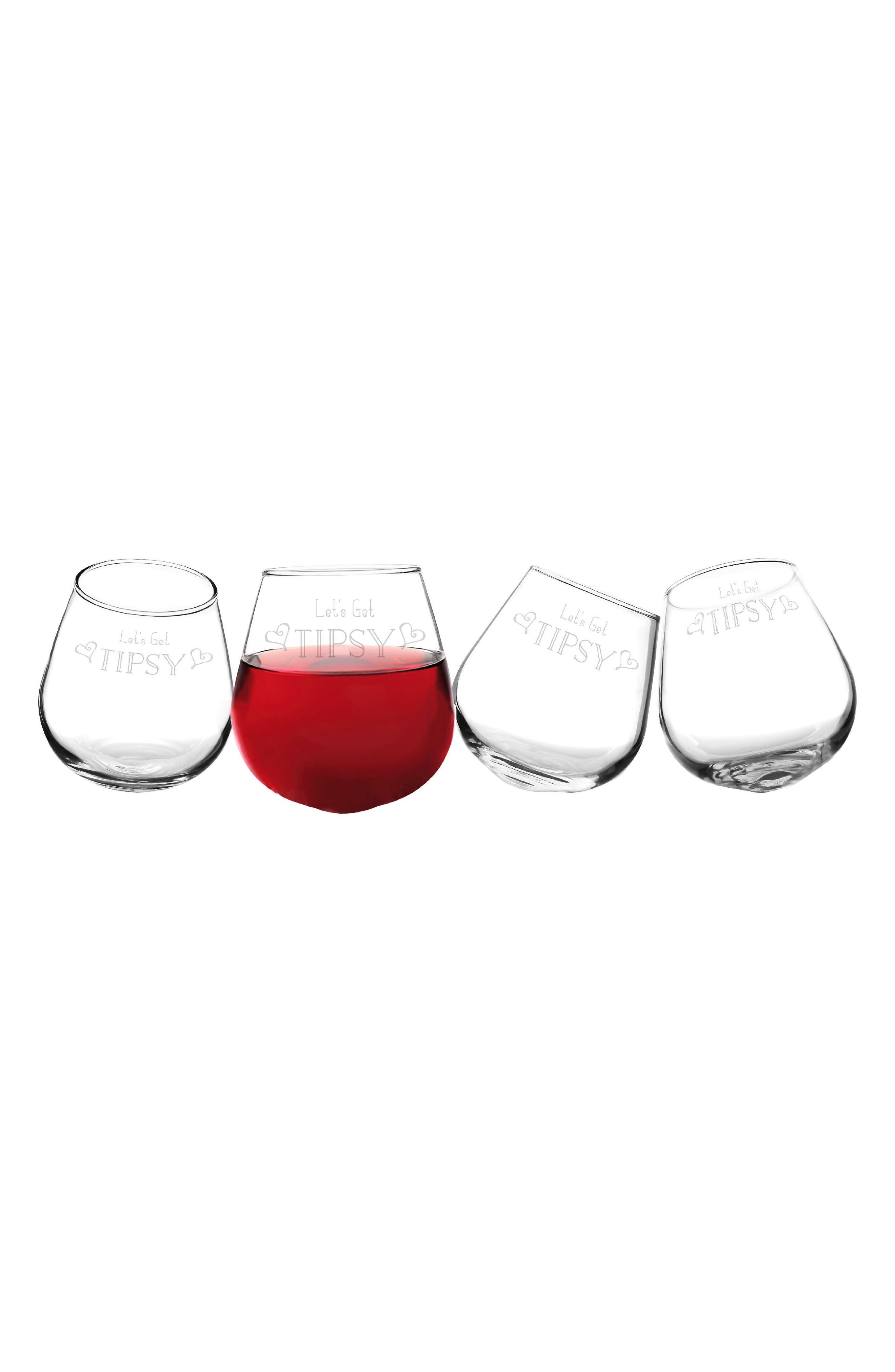 Let's Get Tipsy Etched Wine Glasses Set of 4,                         Main,                         color, GET TIPSY