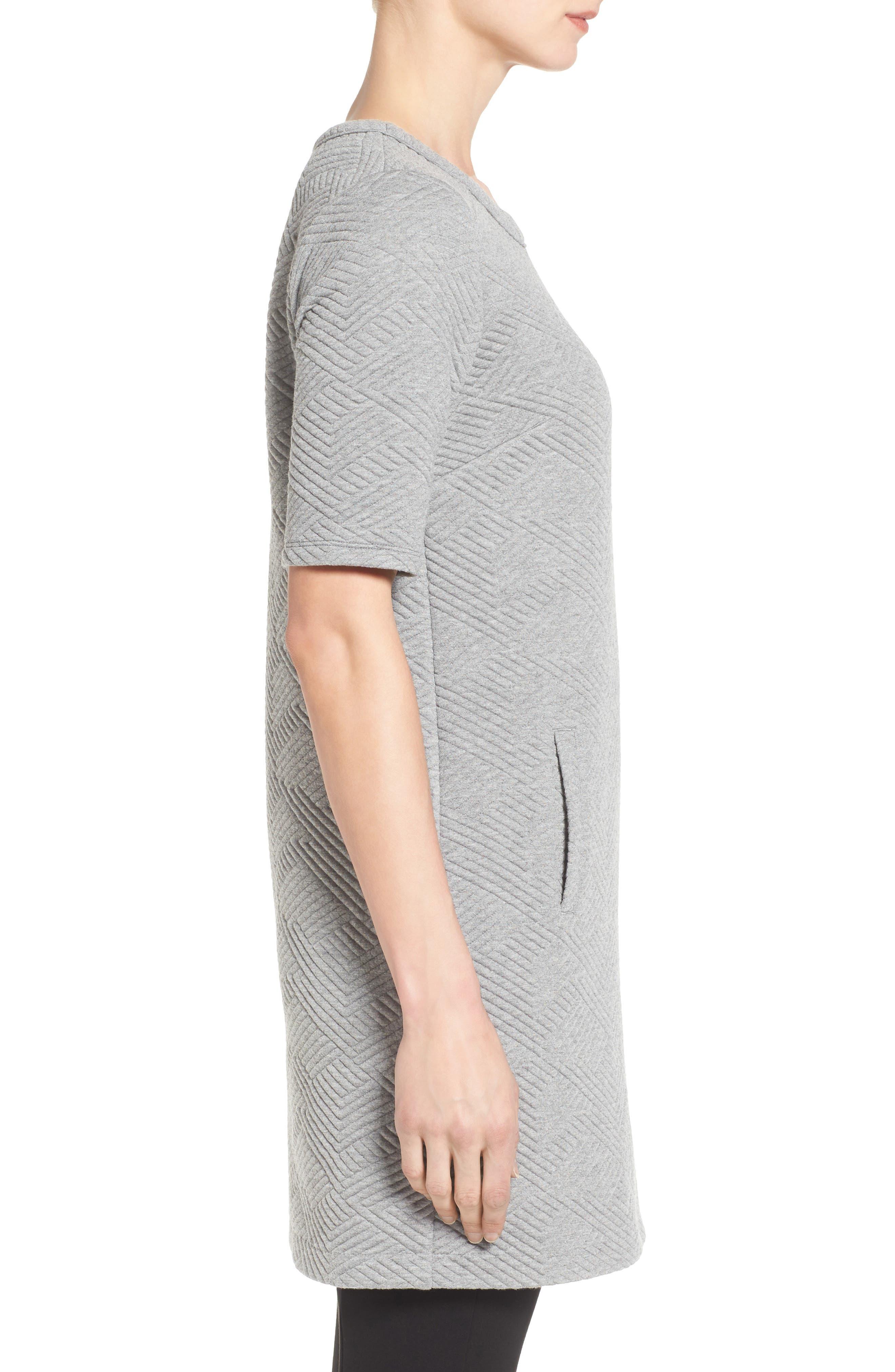 Textured Elbow Sleeve Tunic Dress,                             Alternate thumbnail 3, color,                             030