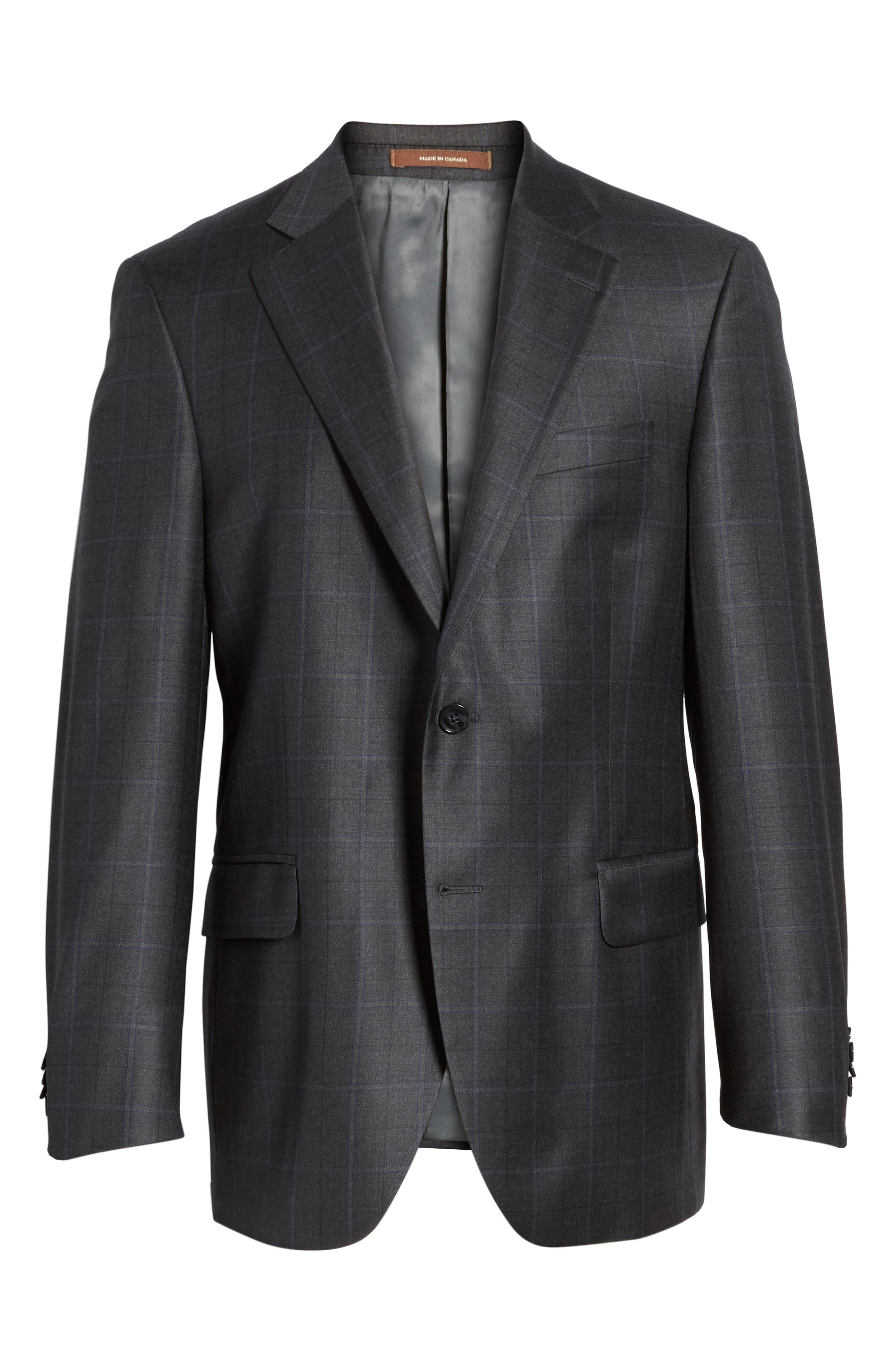Classic Fit Windowpane Wool Sport Coat,                             Alternate thumbnail 5, color,                             010