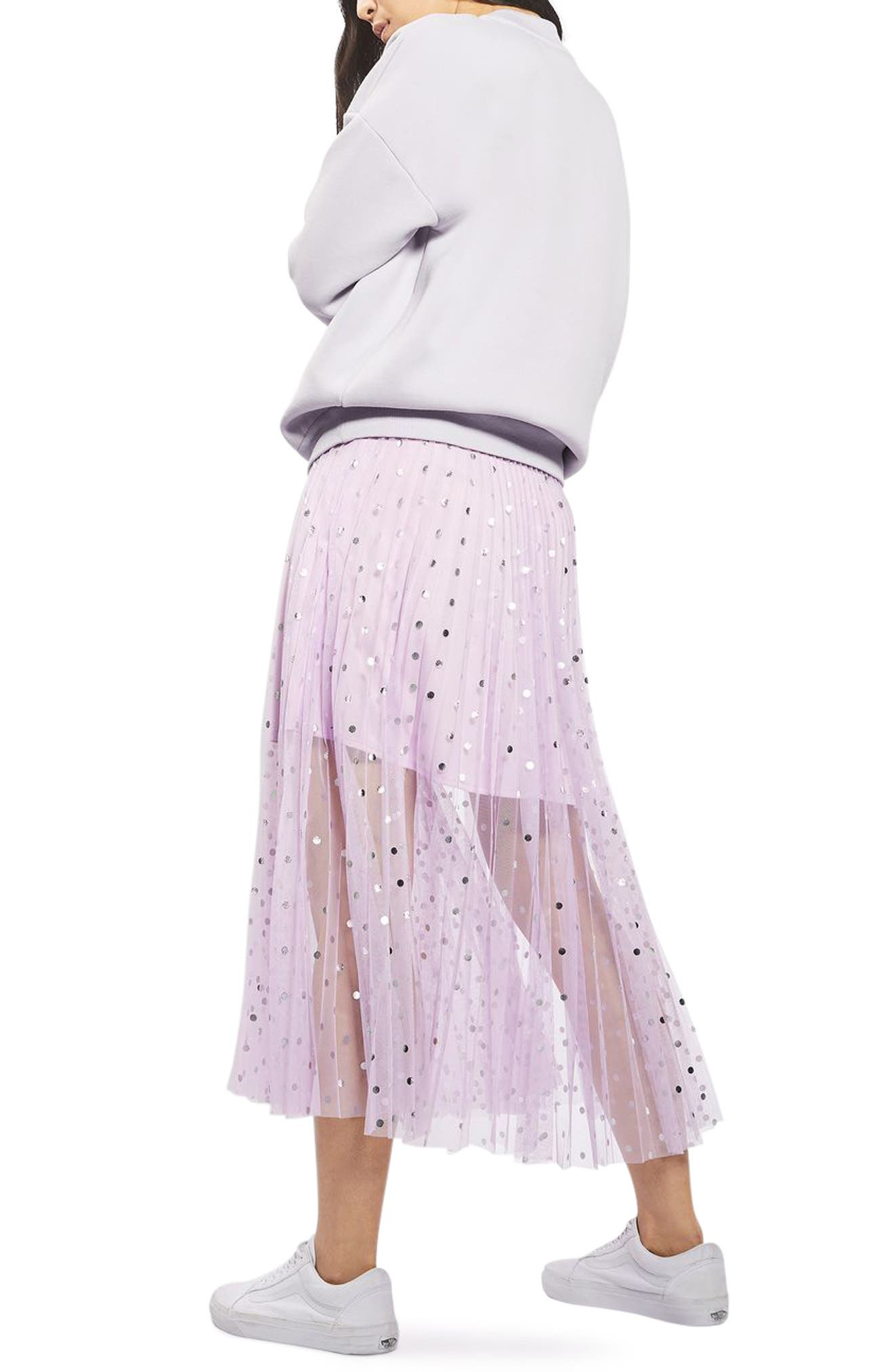 Foil Dot Pleat Midi Skirt,                             Alternate thumbnail 2, color,                             530