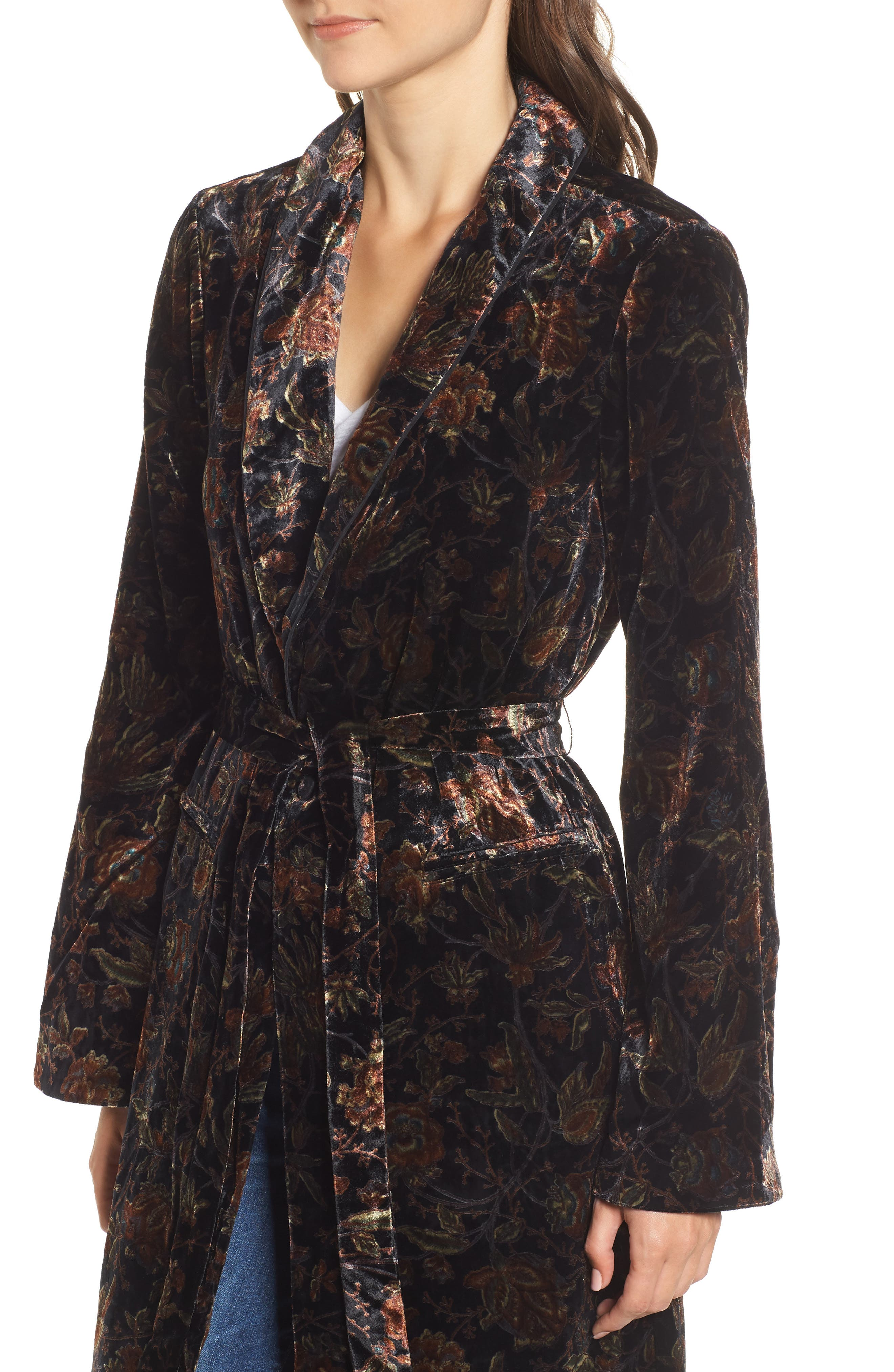 Chrystin Velvet Robe,                             Alternate thumbnail 4, color,                             BLACK / GOLDEN SKY