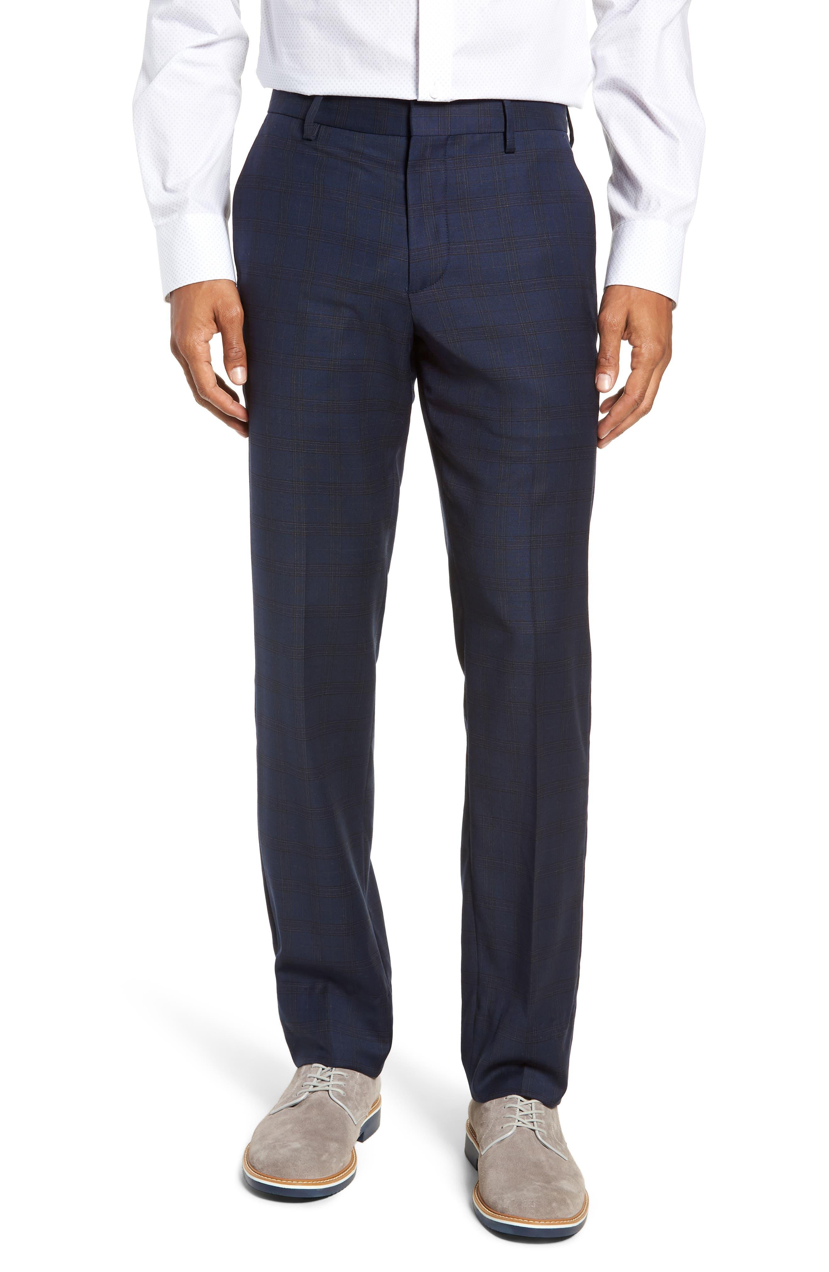 Jetsetter Slim Fit Stretch Suit Pants,                             Main thumbnail 1, color,                             SUBTLE NAVY PLAID