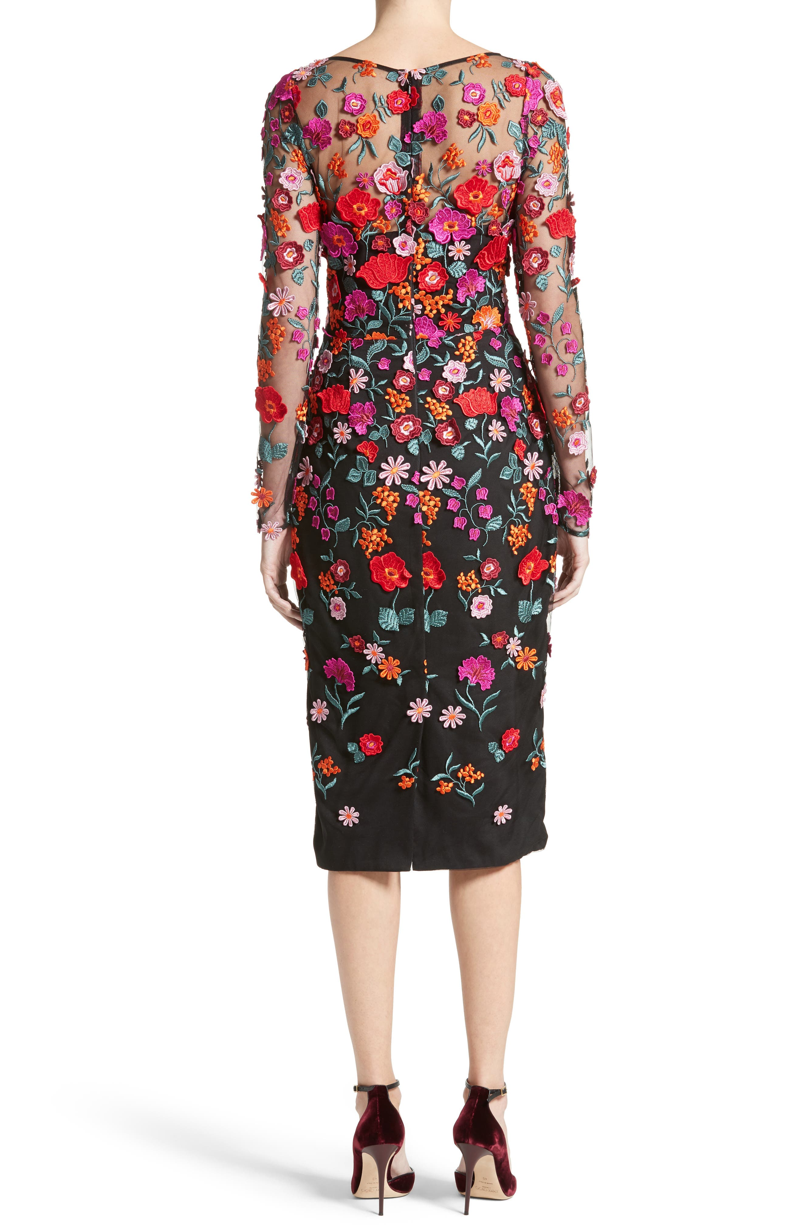 Floral Embroidered Pencil Dress,                             Alternate thumbnail 2, color,                             001