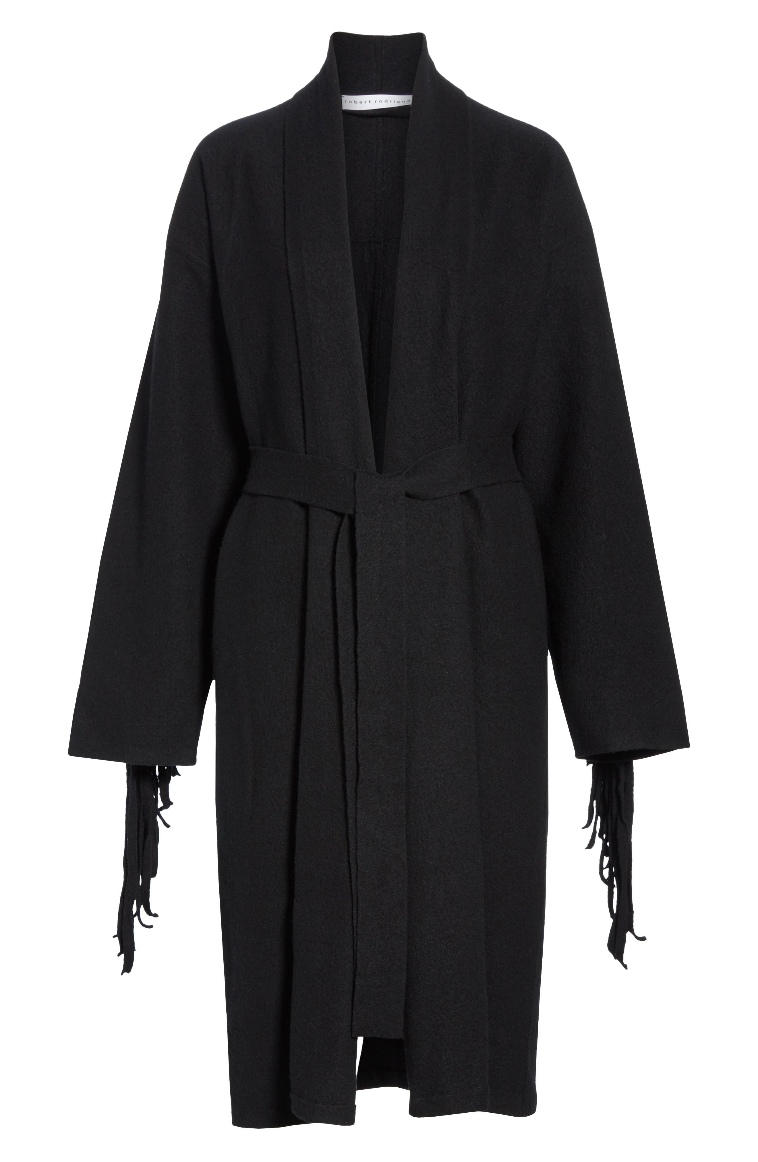 Fringe Detail Boiled Wool & Cashmere Wrap Coat,                             Alternate thumbnail 5, color,                             BLACK