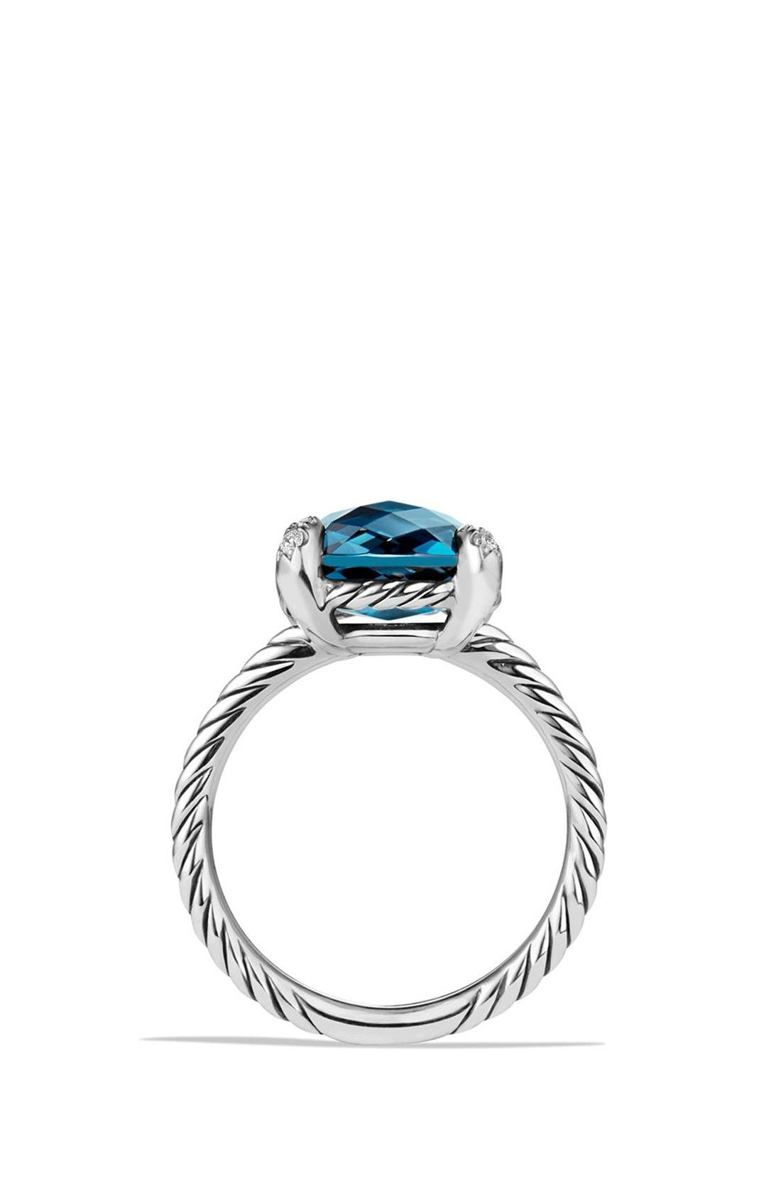 DAVID YURMAN,                             'Châtelaine' Ring with Semiprecious Stone and Diamonds,                             Alternate thumbnail 5, color,                             SILVER/ HAMPTON BLUE TOPAZ