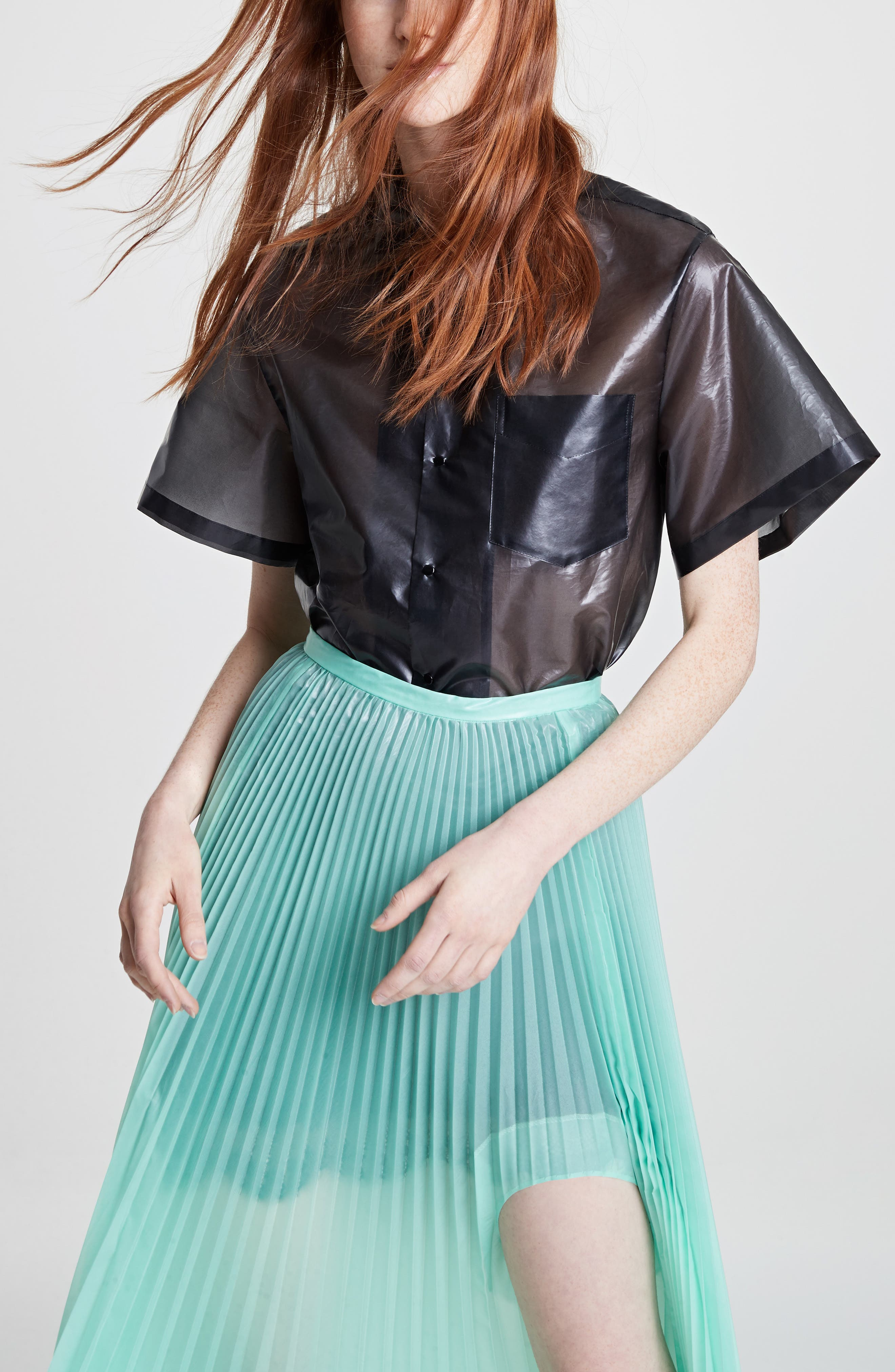 Pleated Keyhole Skirt,                             Alternate thumbnail 8, color,