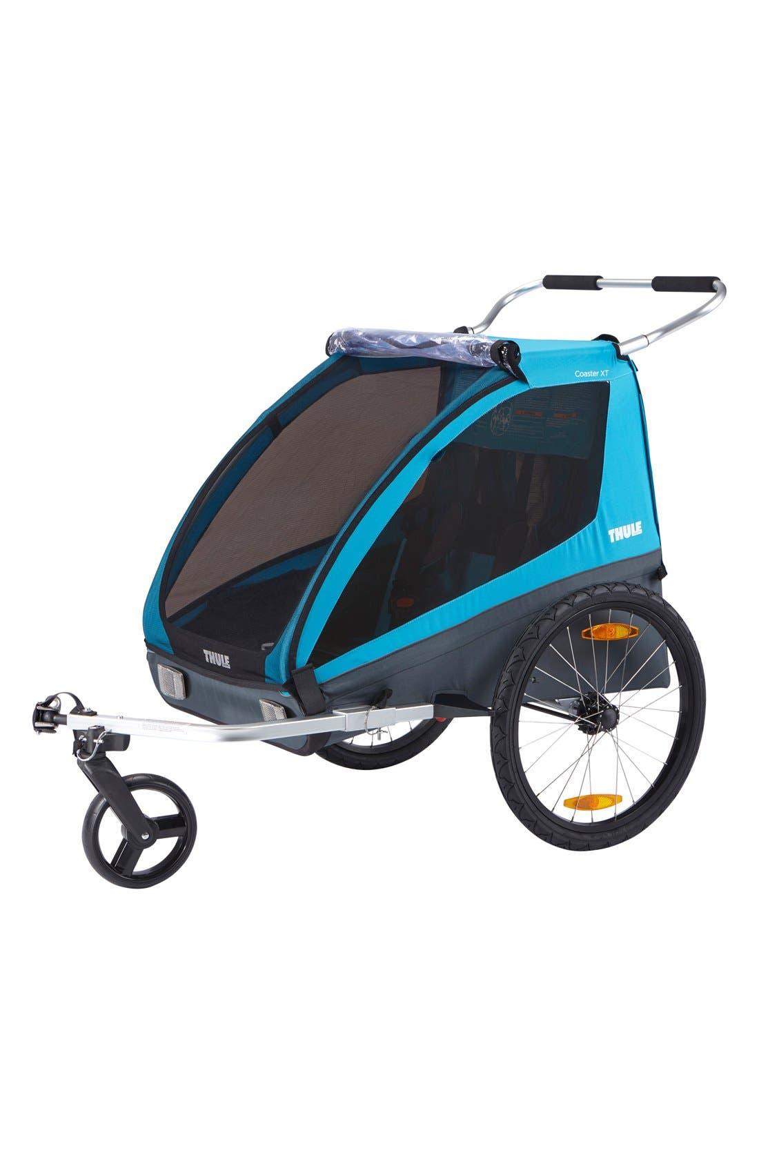 Coaster XT Double Seat Bike Trailer,                             Alternate thumbnail 3, color,                             BLUE