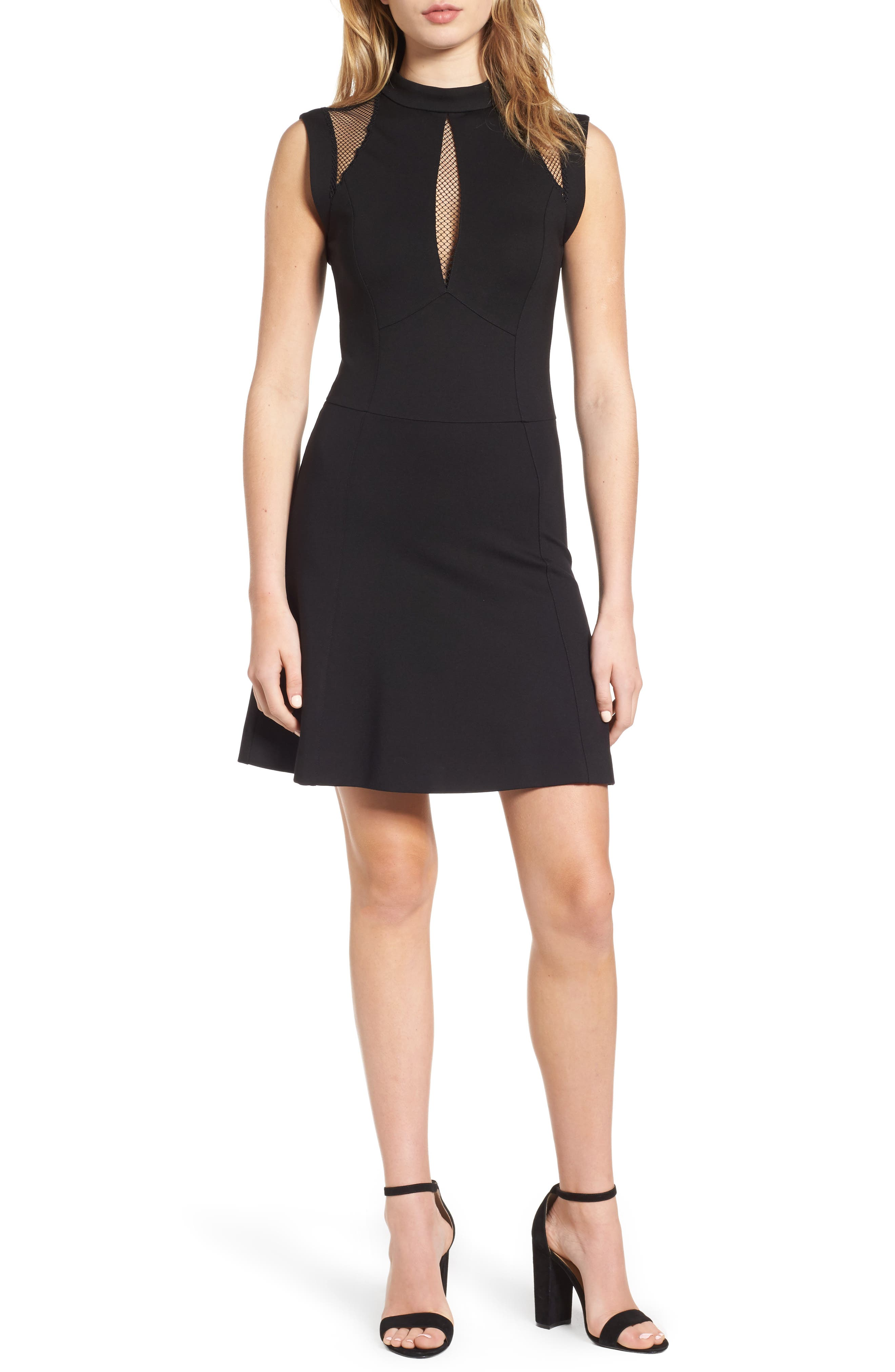 Galactica Fit & Flare Dress,                         Main,                         color, 001