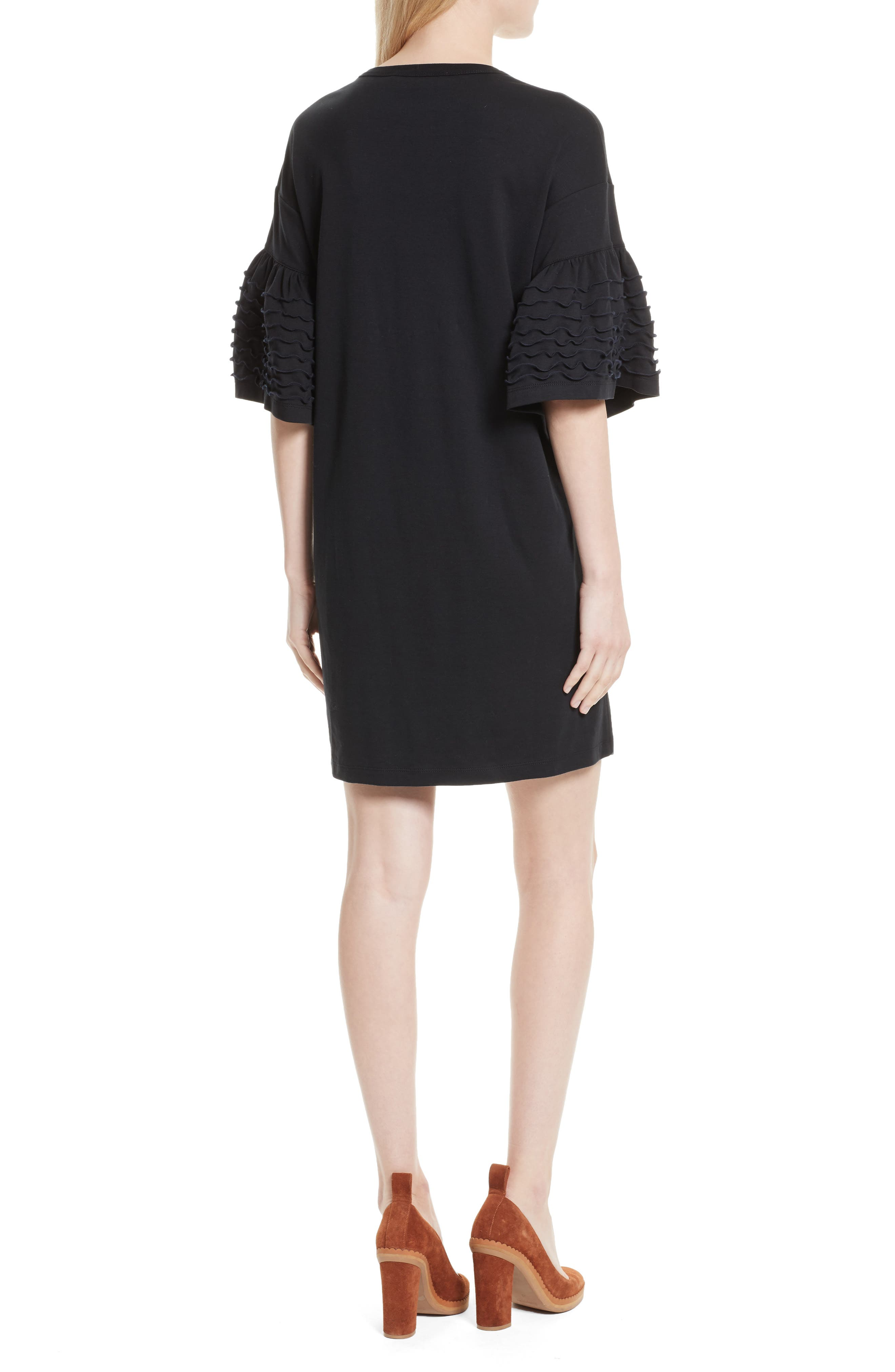 Ruffle Sleeve Cotton Shift Dress,                             Alternate thumbnail 2, color,                             001