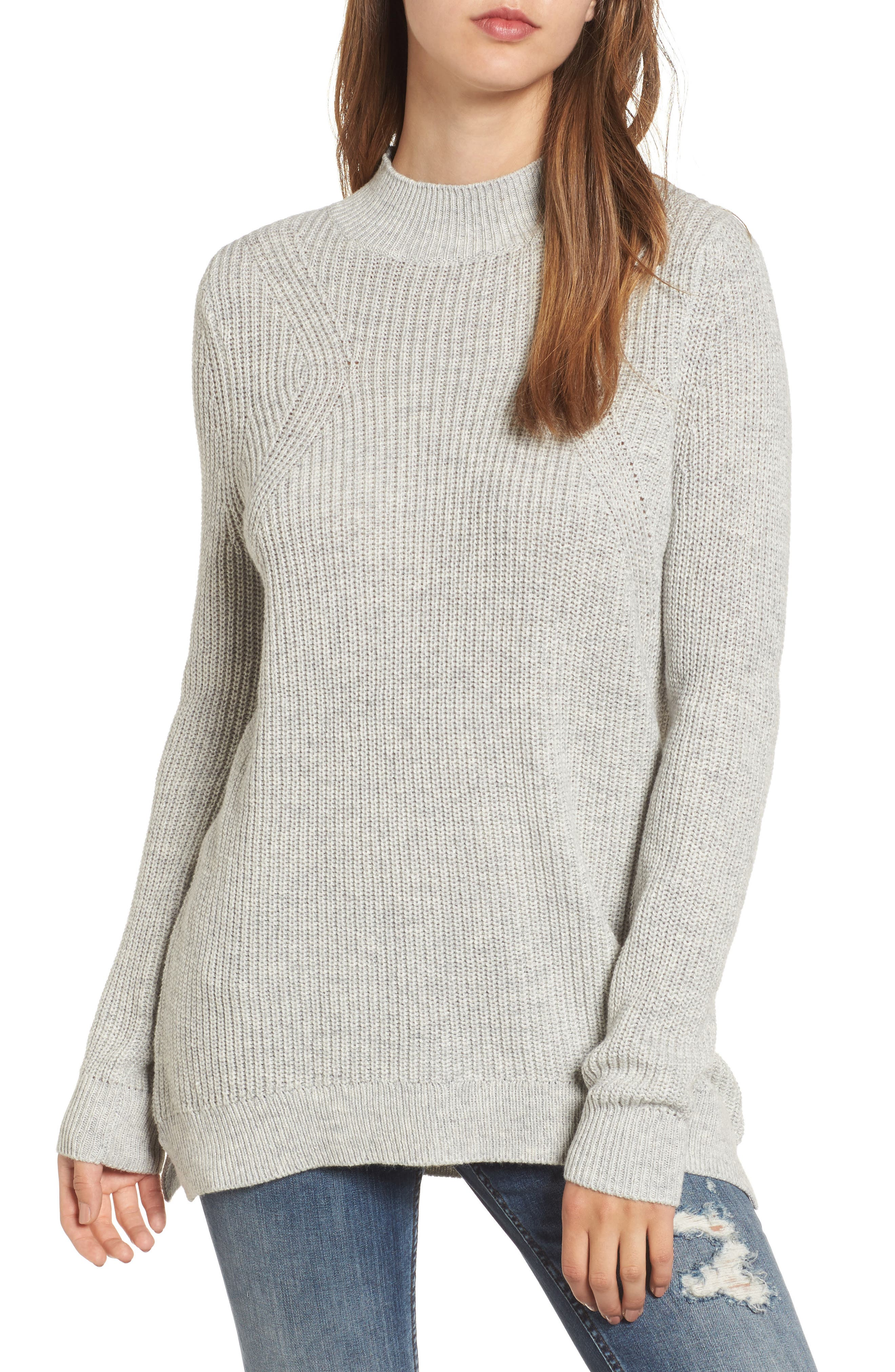 Mock Neck Tunic Sweater,                             Main thumbnail 3, color,