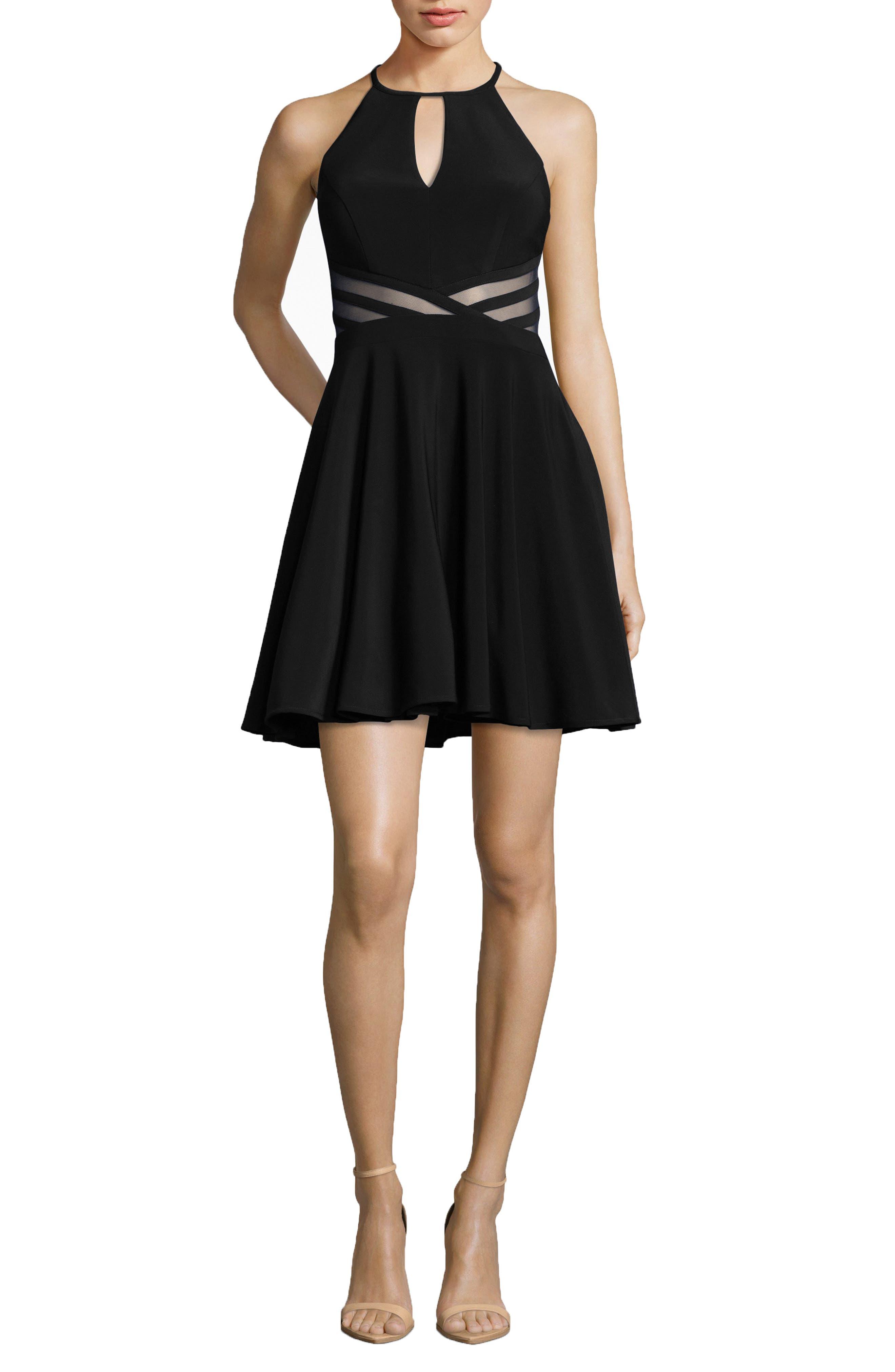 Stripe Waist Party Dress,                             Main thumbnail 1, color,                             001