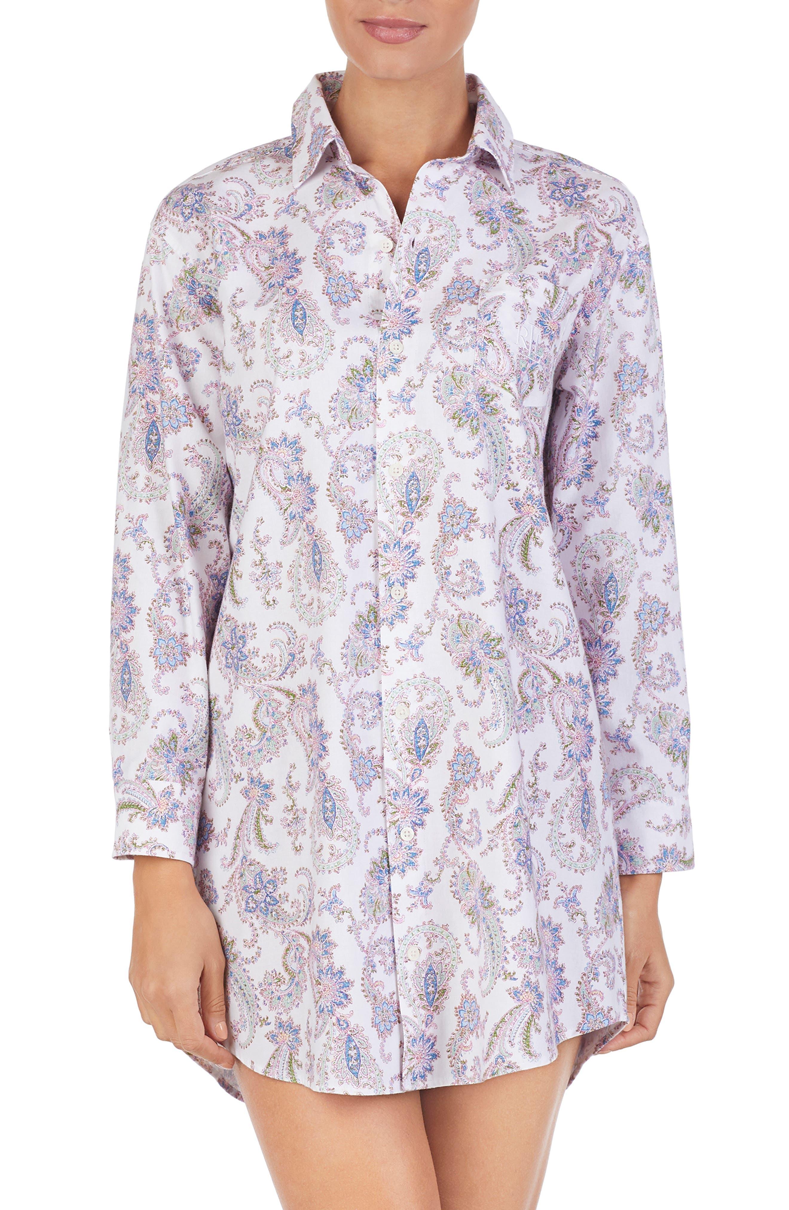 Lauren Ralph Lauren His Paisley Sleep Shirt, White