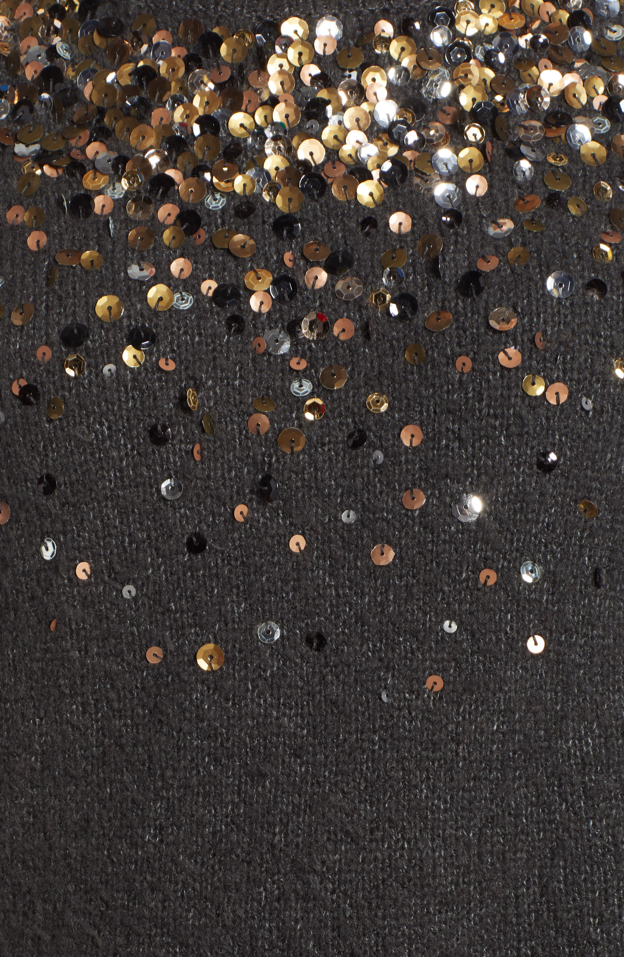 Sequin Detail Sweater,                             Alternate thumbnail 5, color,                             CHARCOAL